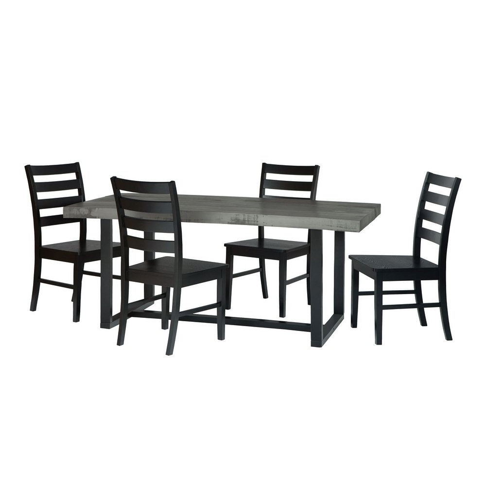Most Recently Released 5 Piece Farmhouse Solid Pine Wood Ladderback Dining Set – Grey/black Regarding Sundberg 5 Piece Solid Wood Dining Sets (View 14 of 25)