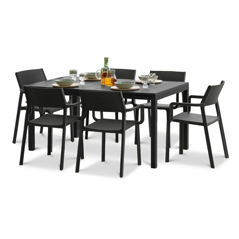 Most Recently Released Aria 5 Piece Dining Sets Regarding Trill Rio Outdoor Extendable Dining Set (6 Seater) (View 14 of 25)