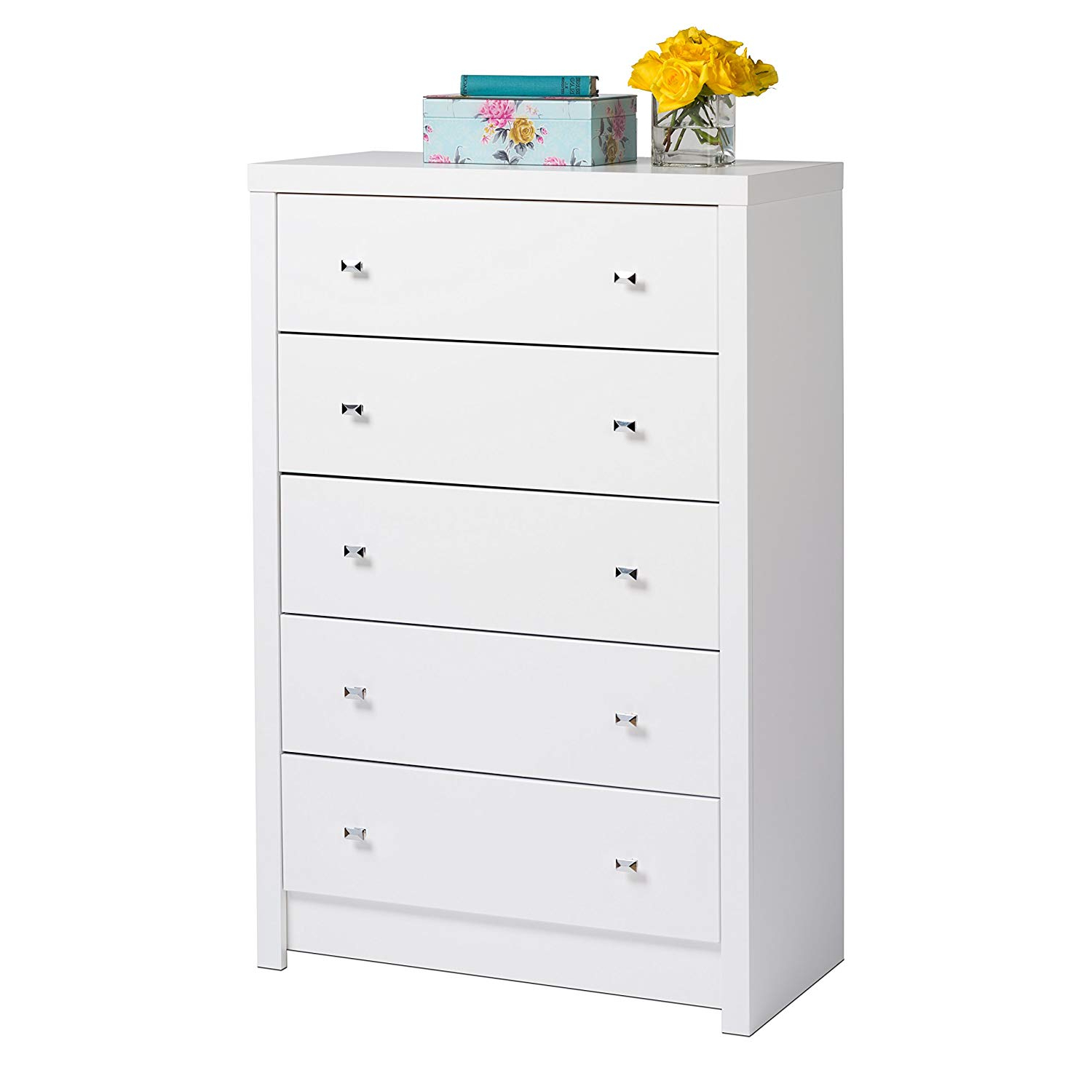 Most Recently Released Calla 5 Piece Dining Sets With Regard To Amazon: Prepac Wdbr 0550 1 White Calla 5 Drawer Chest, King (View 17 of 25)