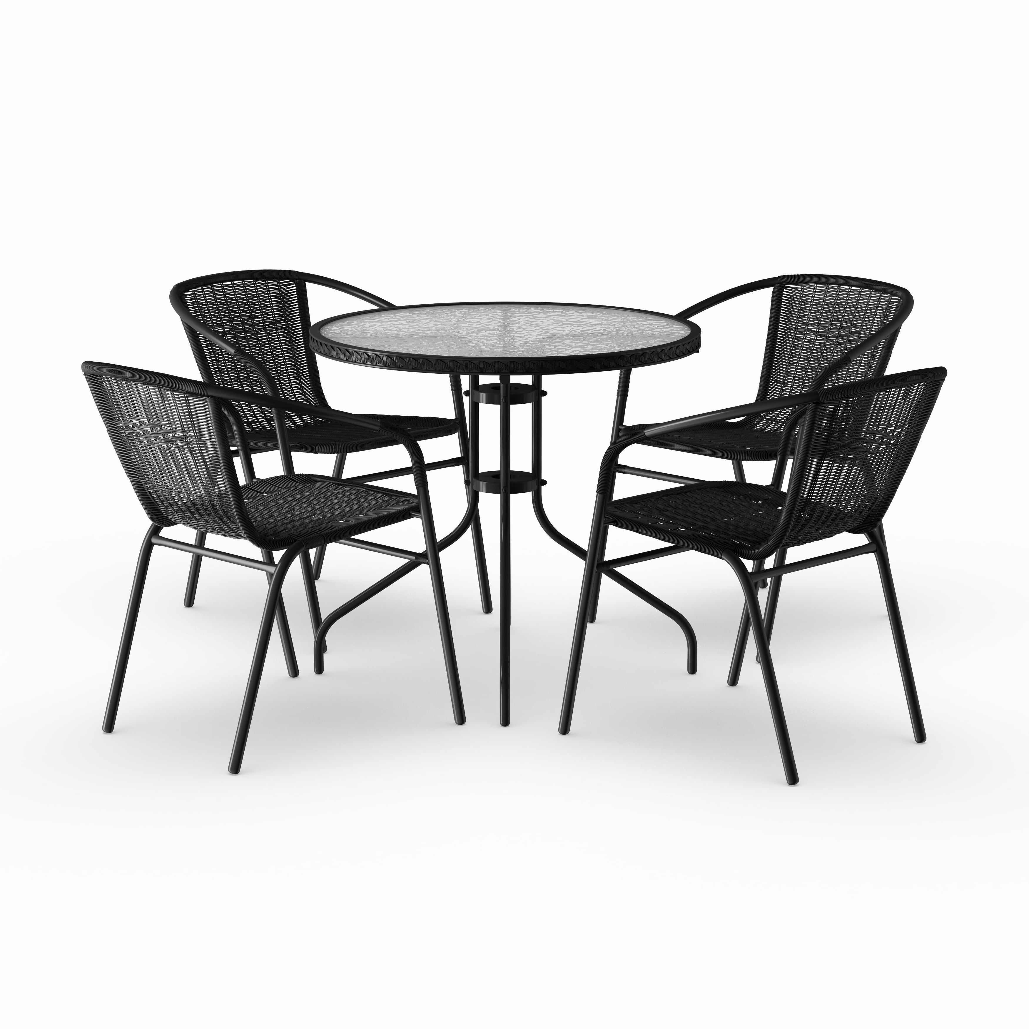 Most Recently Released Debby Small Space 3 Piece Dining Sets Inside Havenside Home Bellport 5 Piece Round Metal/ Glass Table With Rattan Chairs  Set (View 15 of 25)