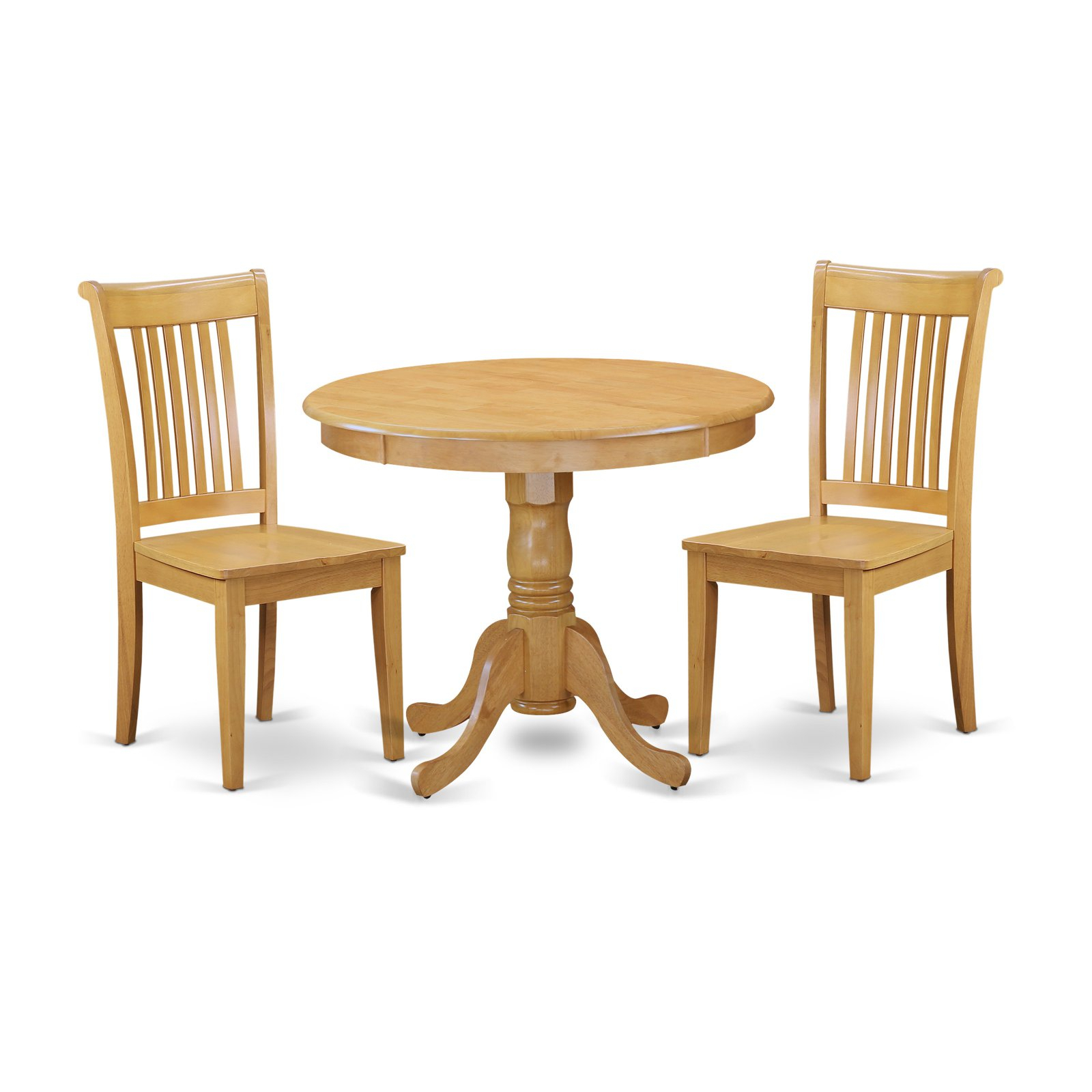 Most Recently Released East West Furniture Antique Anpo3 Three Piece Round Pedestal Dining With Regard To Smyrna 3 Piece Dining Sets (View 12 of 25)