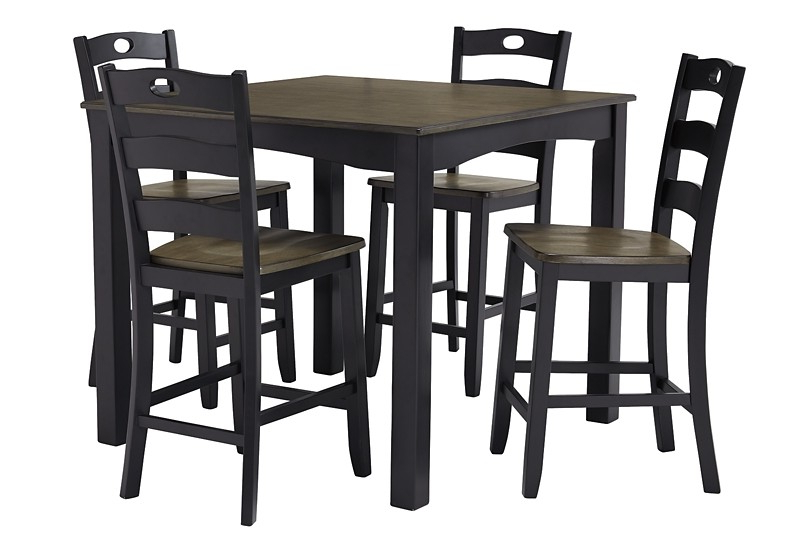 Most Recently Released Froshburg – Grayish Brown/black – Square Counter Tbl Set (5/cn Intended For Tappahannock 3 Piece Counter Height Dining Sets (View 11 of 25)