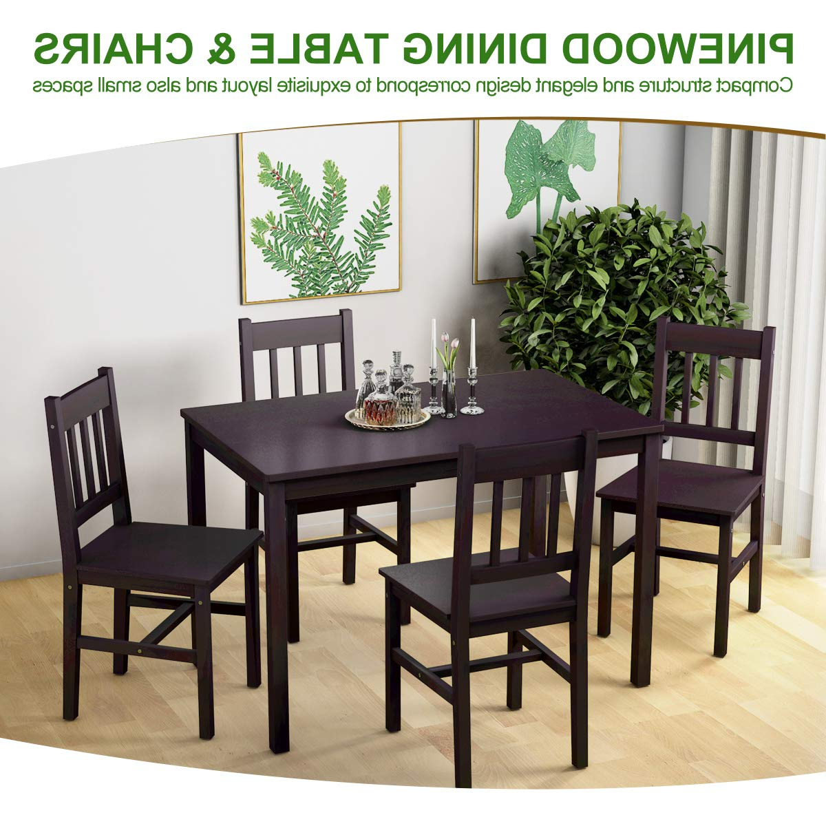 Most Recently Released Giantex 5 Piece Wood Dining Table Set 4 Chairs Home Kitchen With Regard To Sundberg 5 Piece Solid Wood Dining Sets (View 15 of 25)