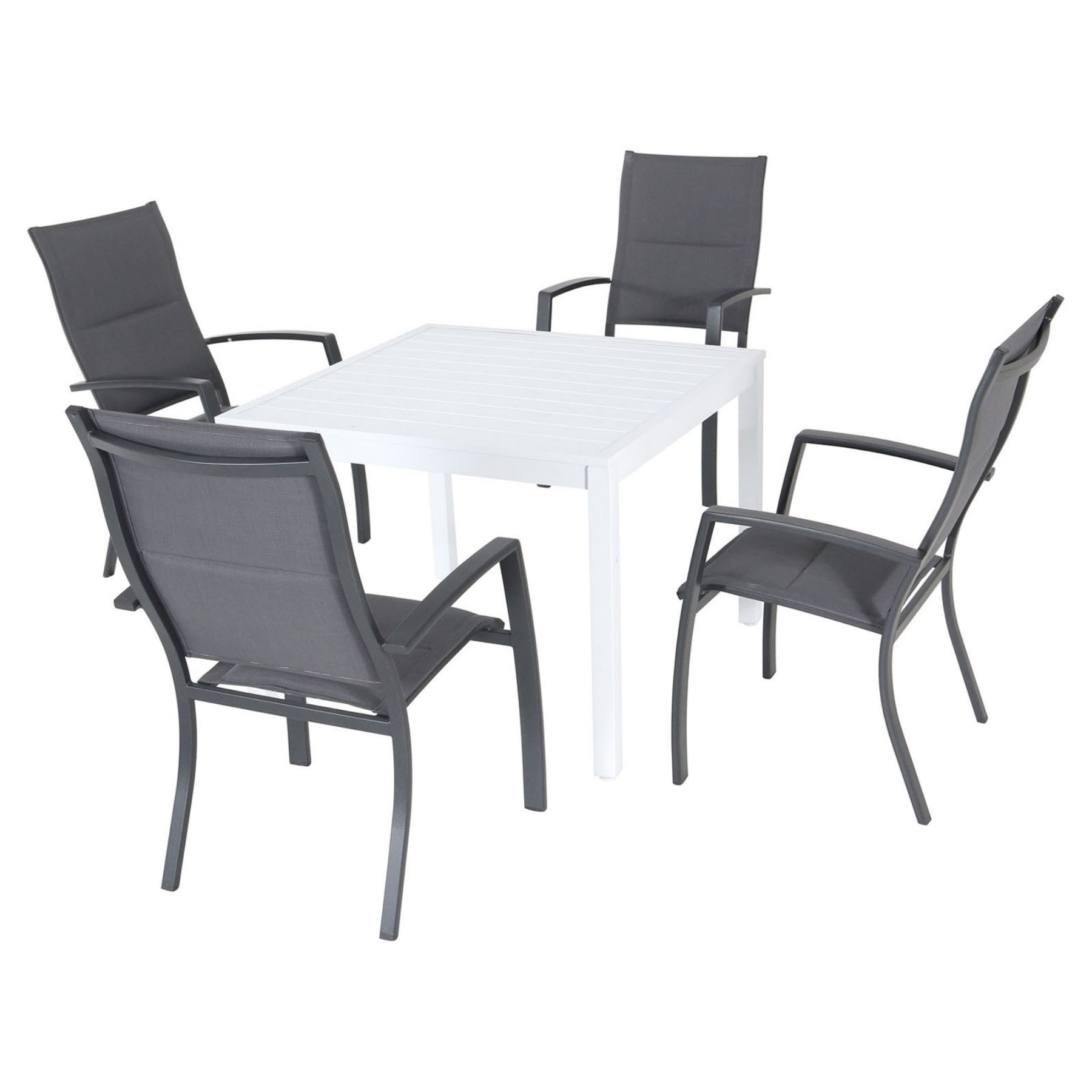 Most Recently Released Hanover Del Mar Aluminum 5 Piece Outdoor Patio Dining Set With In Delmar 5 Piece Dining Sets (View 11 of 25)