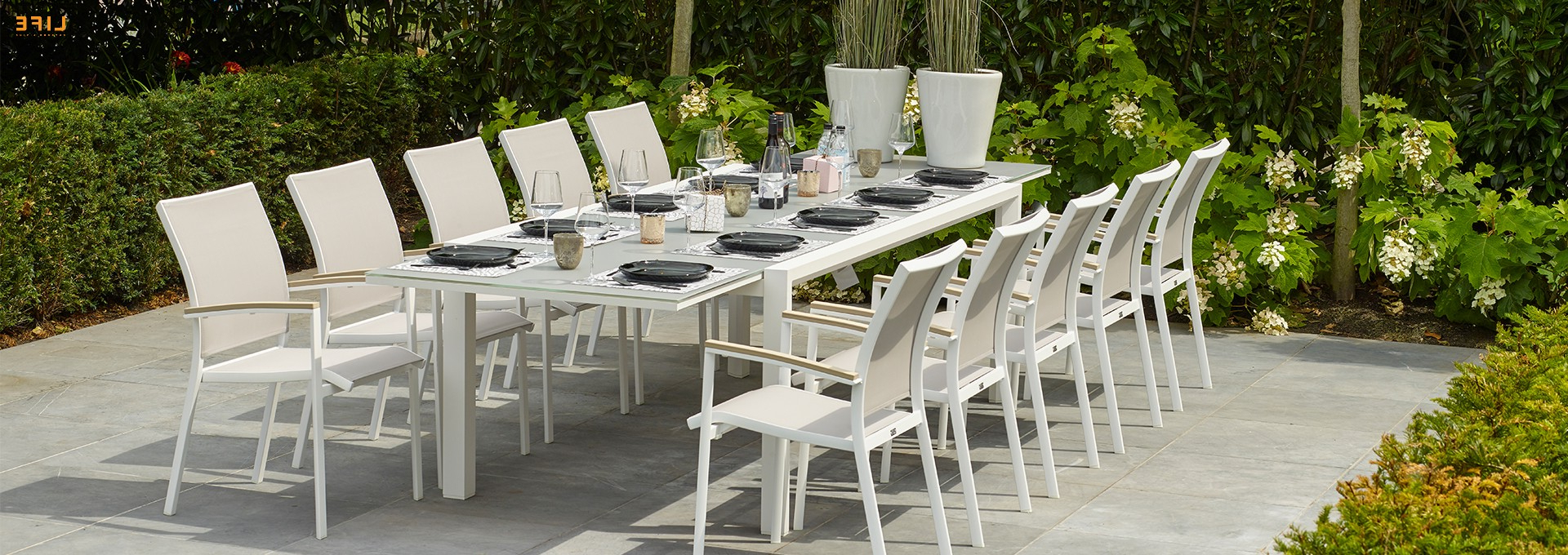 Most Recently Released Osterman 6 Piece Extendable Dining Sets (Set Of 6) With Regard To Anabel Dining Extendable White – Life Outdoor Living (View 10 of 25)