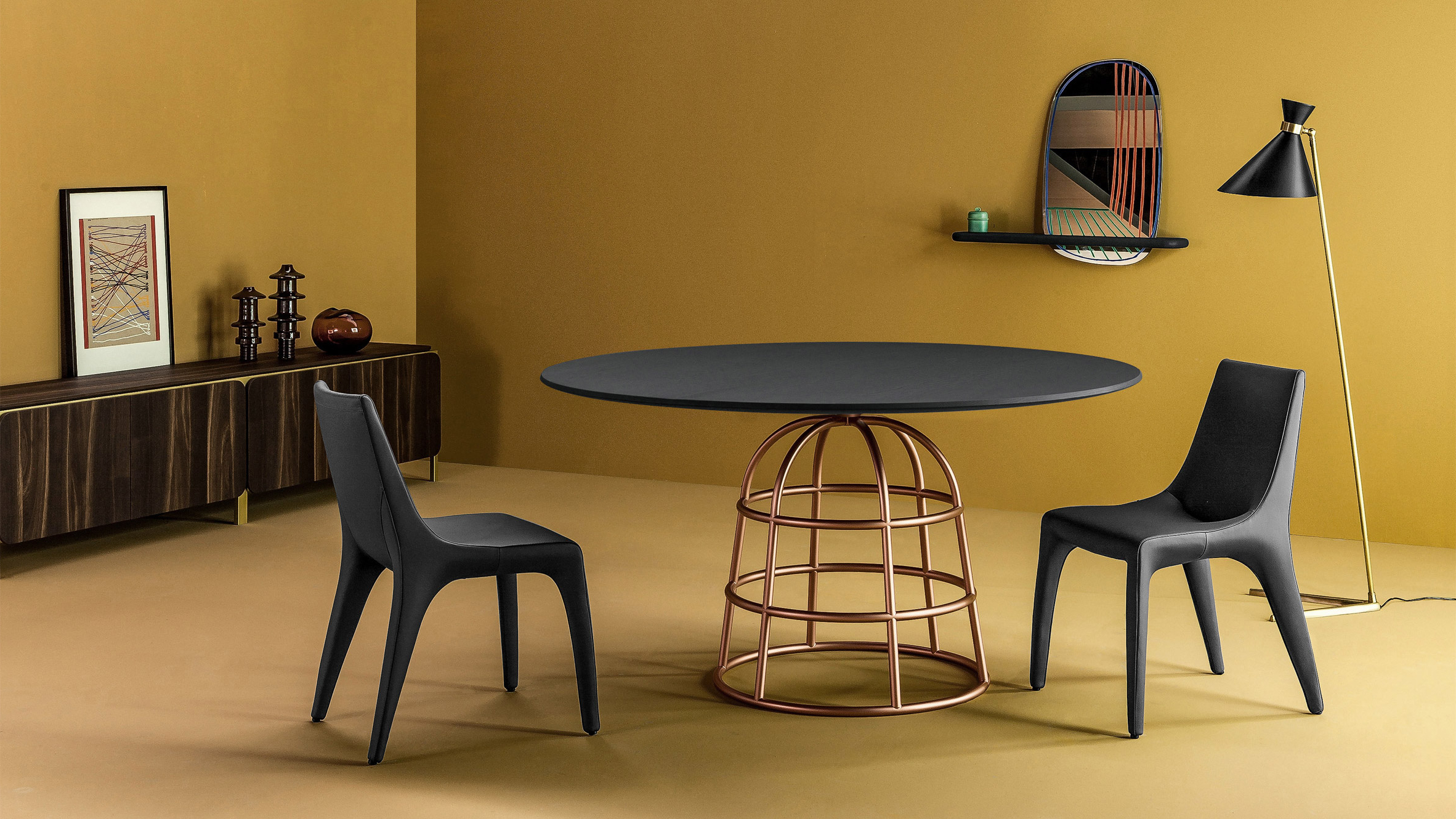 Most Up To Date Alain Gilles' Mass Tables Rest On Wireframe Style Metal Bases Throughout Giles 3 Piece Dining Sets (View 8 of 25)