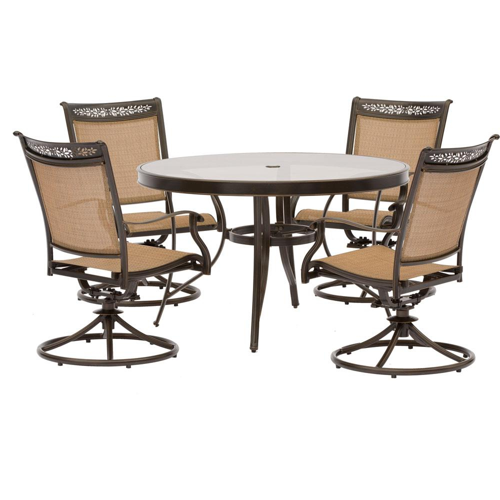 Most Up To Date Aria 5 Piece Dining Sets In Glass – Round – Patio Dining Sets – Patio Dining Furniture – The (View 16 of 25)