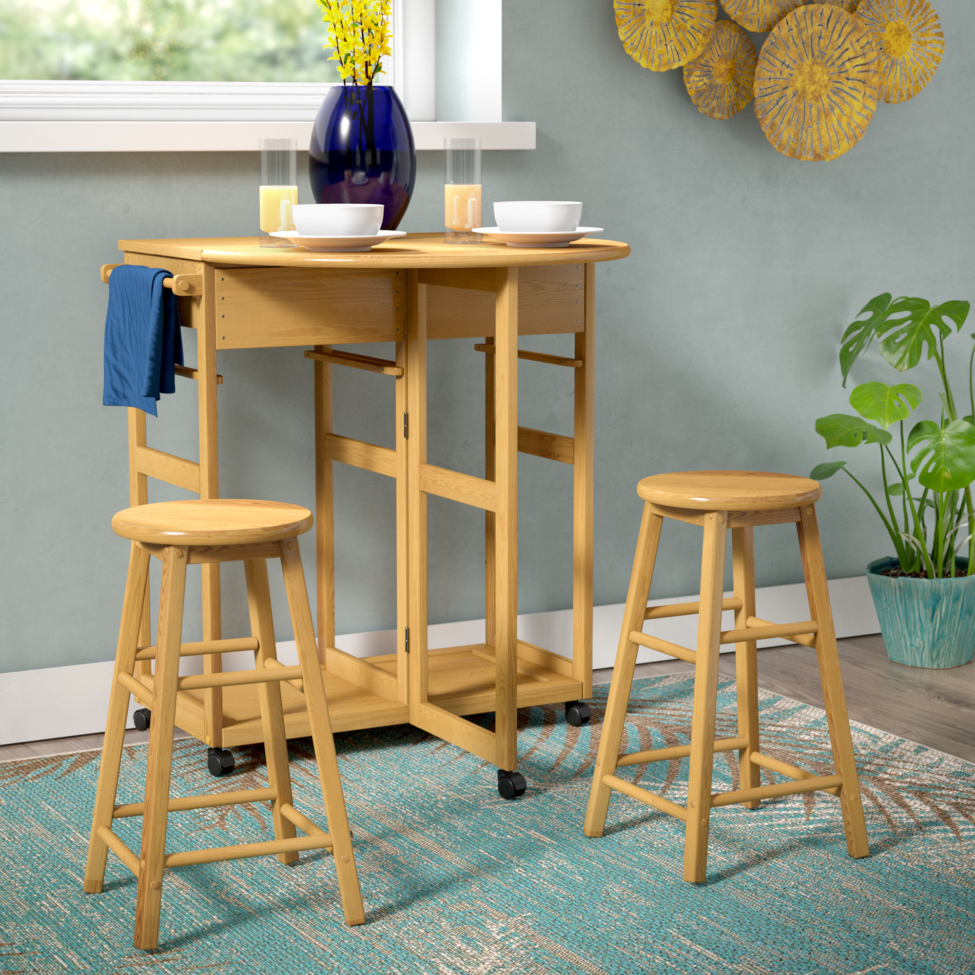 Most Up To Date Beachcrest Home Wynyard 3 Piece Pub Table Set & Reviews (View 5 of 25)