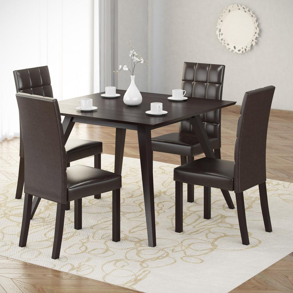 Most Up To Date Corliving Atwood 5 Piece Dining Set With Dark Brown Leatherette Pertaining To Biggs 5 Piece Counter Height Solid Wood Dining Sets (Set Of 5) (View 12 of 25)