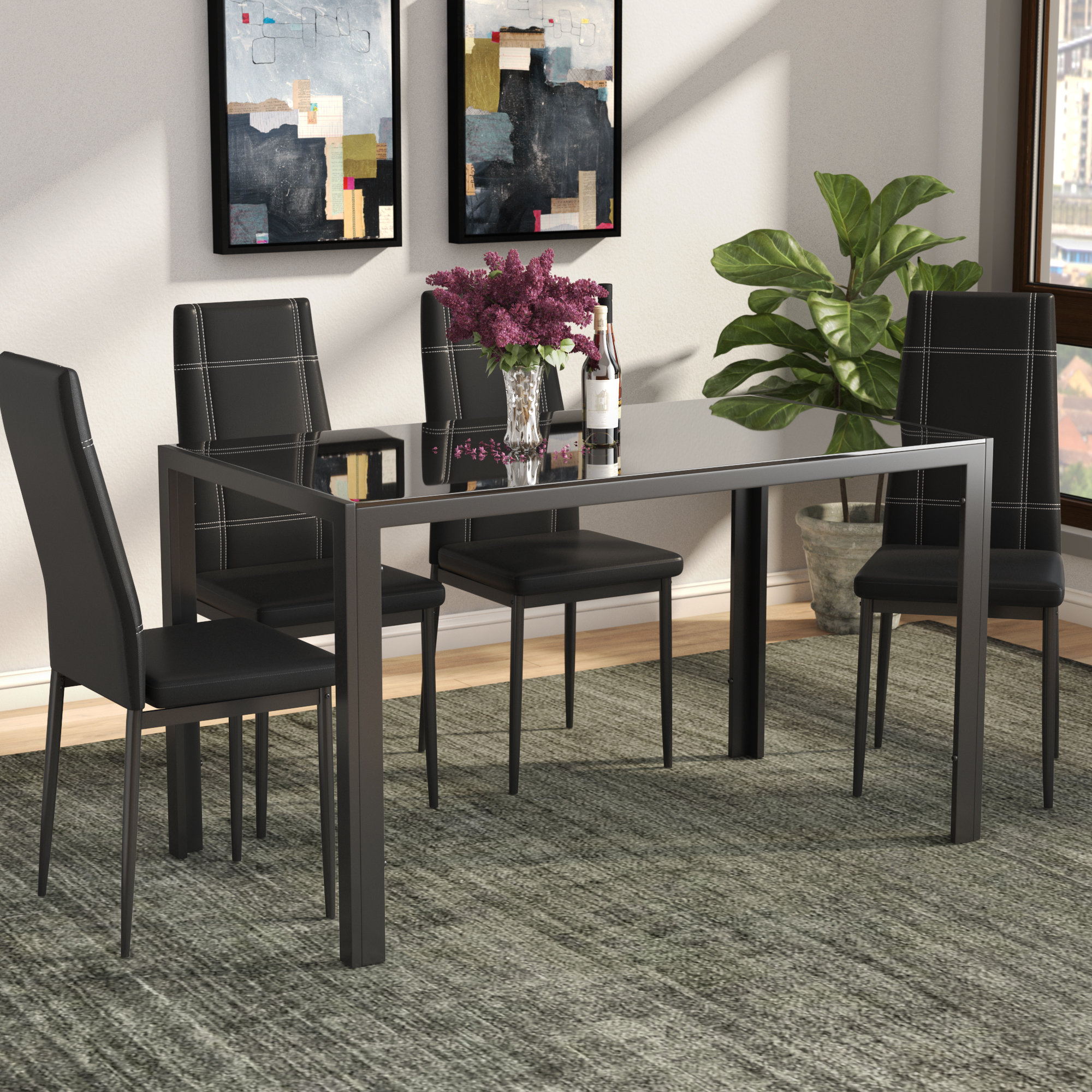Most Up To Date Ebern Designs Maynard 5 Piece Dining Set & Reviews (View 17 of 25)