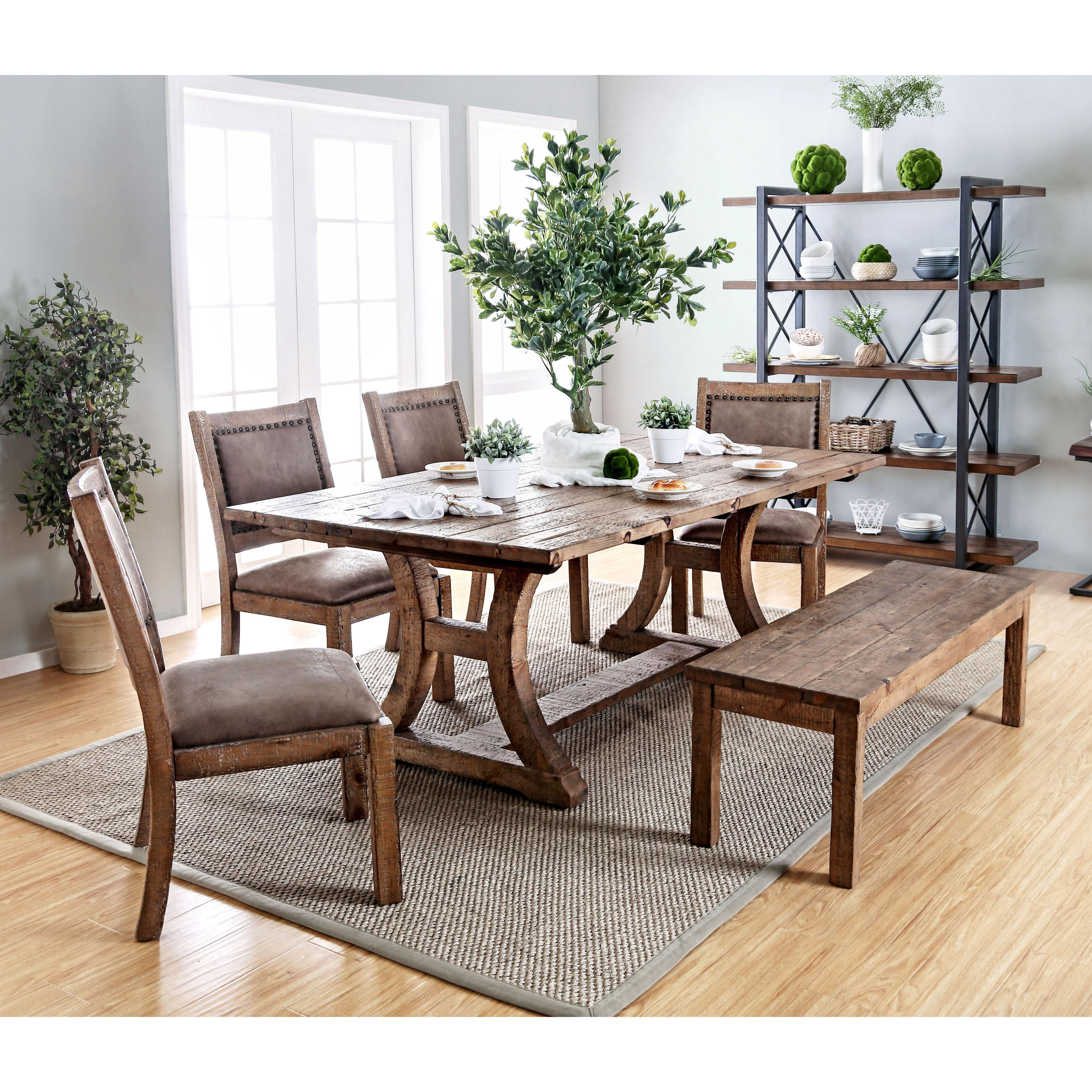 Most Up To Date Falmer 3 Piece Solid Wood Dining Sets Inside Buy Rustic Kitchen & Dining Room Tables Online At Overstock (View 6 of 25)