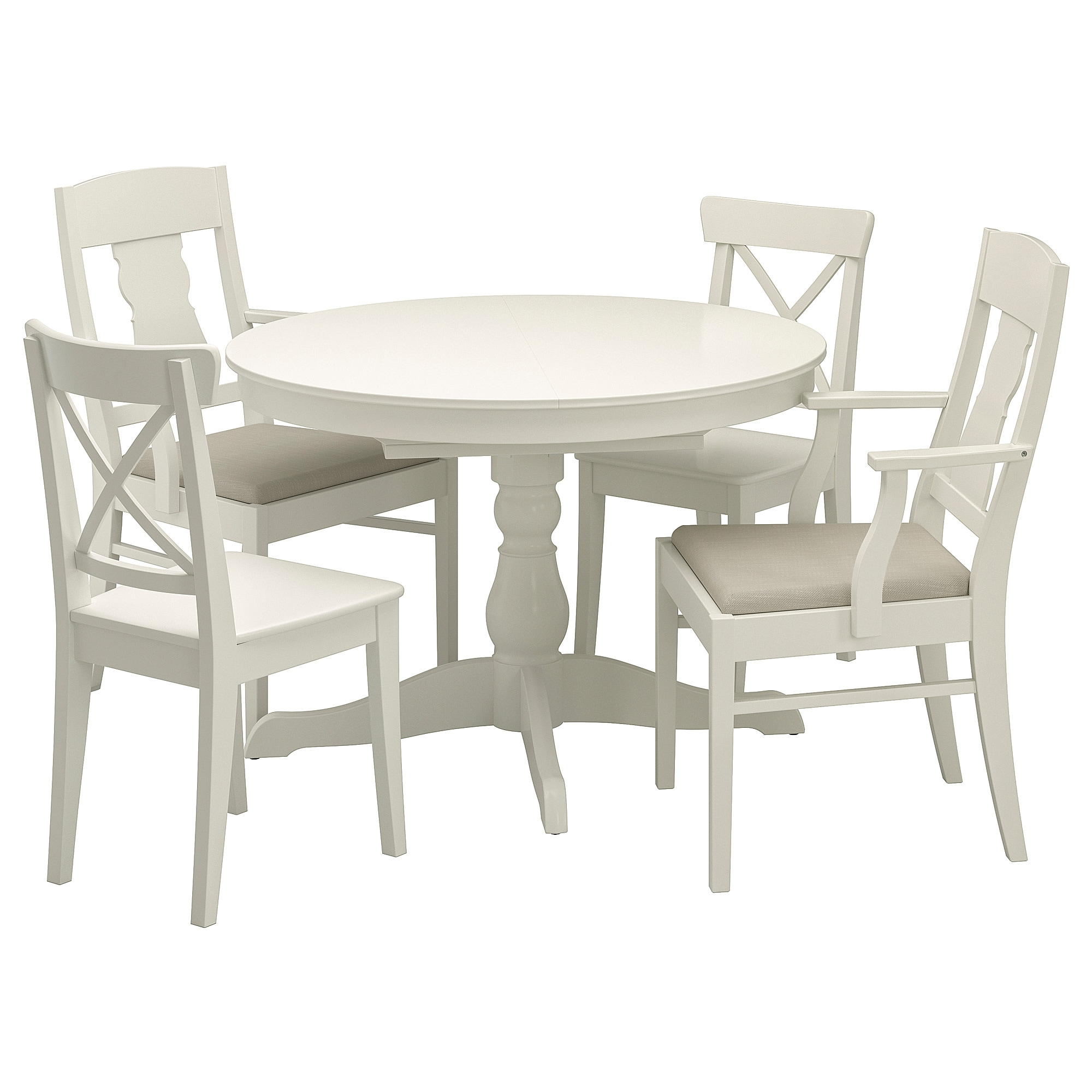Most Up To Date Ingatorp / Ingolf Table And 4 Chairs – White, Nordvalla Beige – Ikea With Castellanos Modern 5 Piece Counter Height Dining Sets (View 18 of 25)