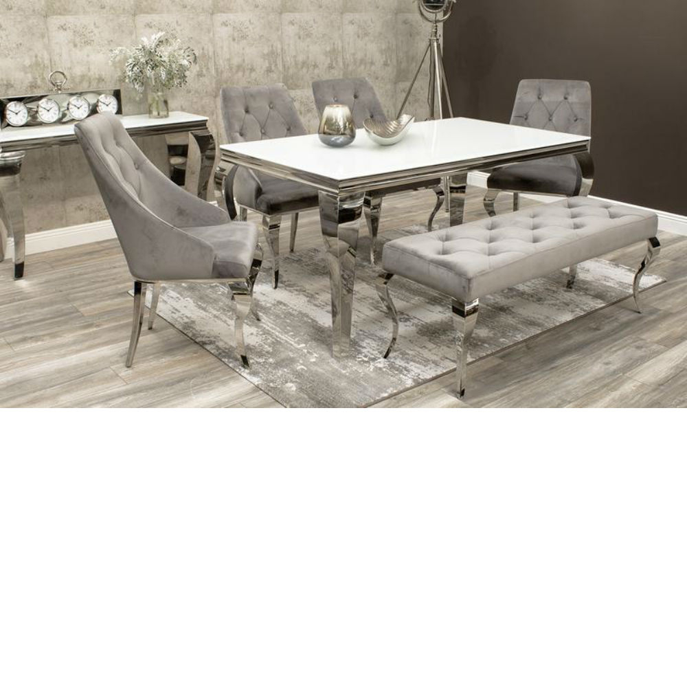 Most Up To Date Louis 160Cm White Glass Dining Table Inc 4 Cassia Chairs And Louis Pertaining To John 4 Piece Dining Sets (View 17 of 25)