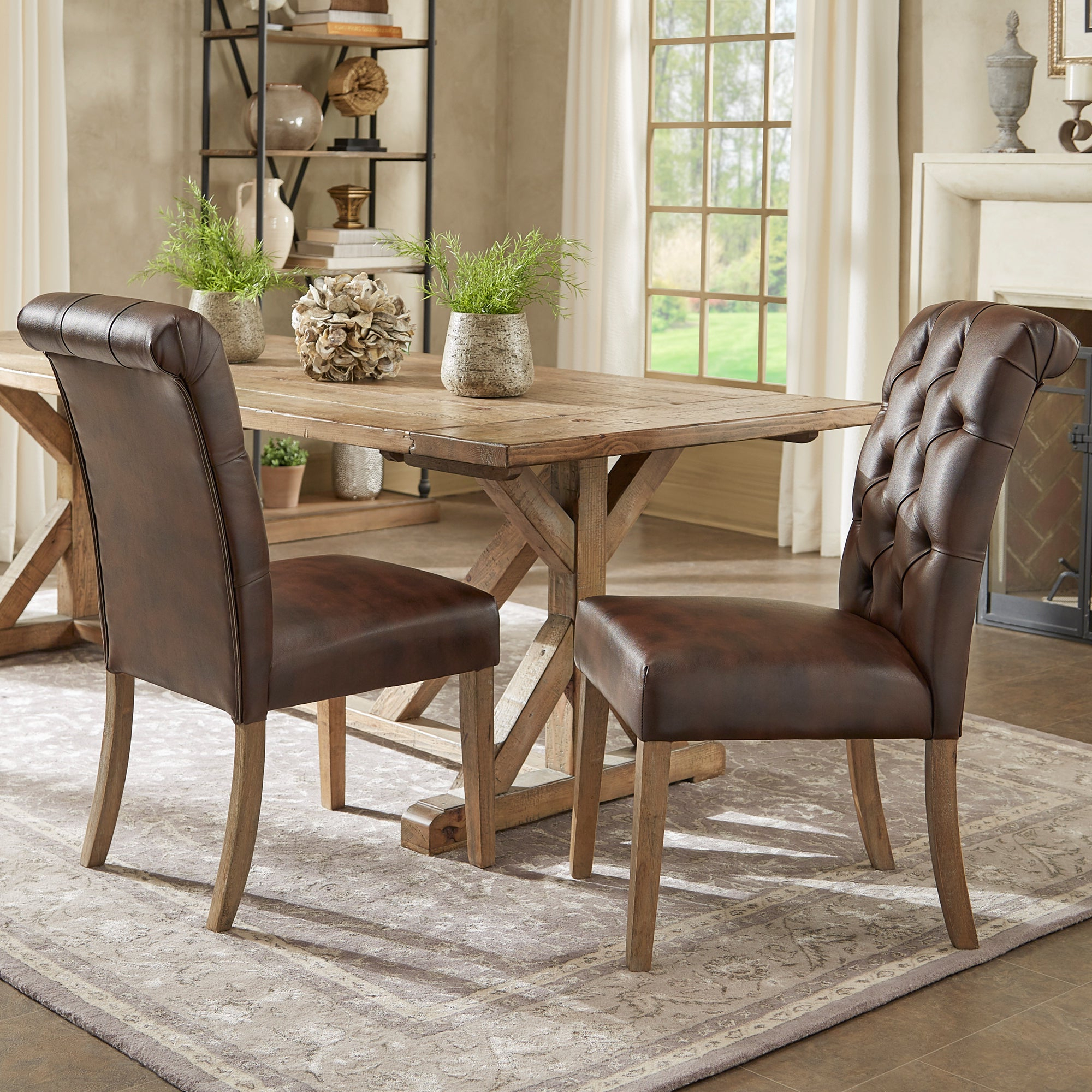 Most Up To Date Shop Benchwright Premium Tufted Rolled Back Parsons Chairs (Set Of 2 In Evellen 5 Piece Solid Wood Dining Sets (Set Of 5) (View 12 of 25)