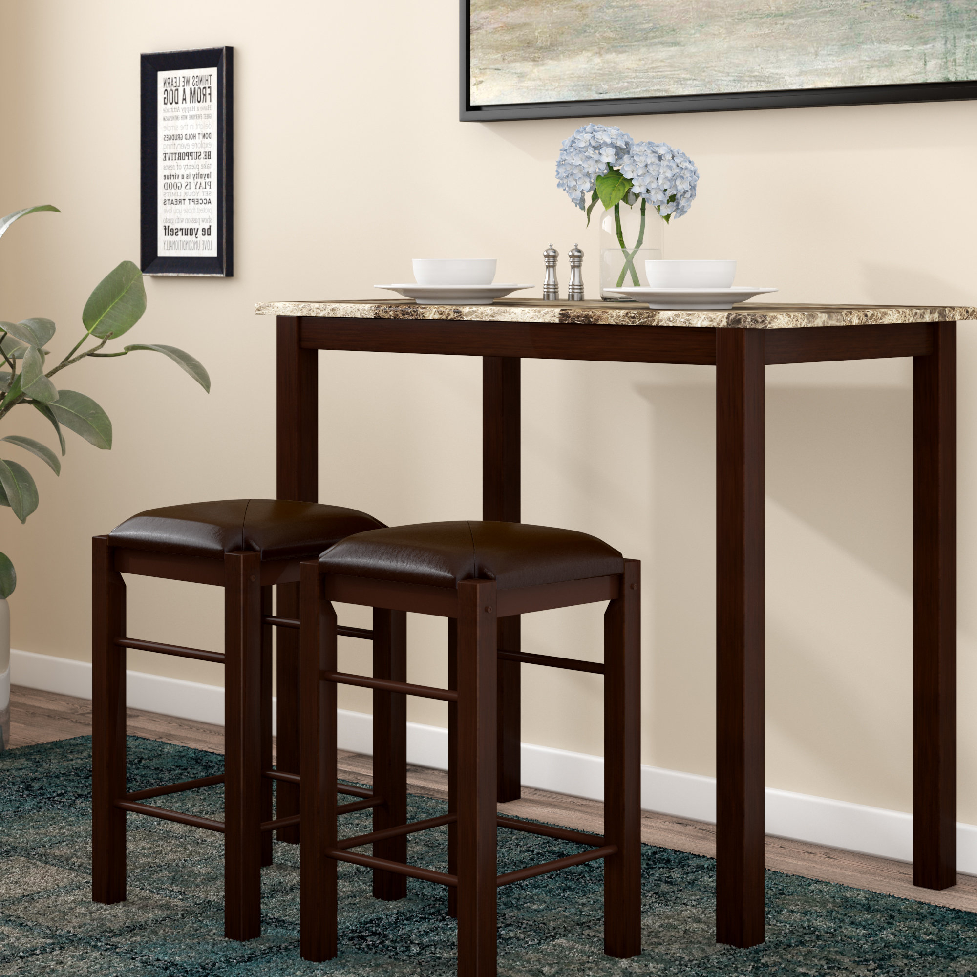 Most Up To Date Winston Porter Penelope 3 Piece Counter Height Wood Dining Set (View 8 of 25)