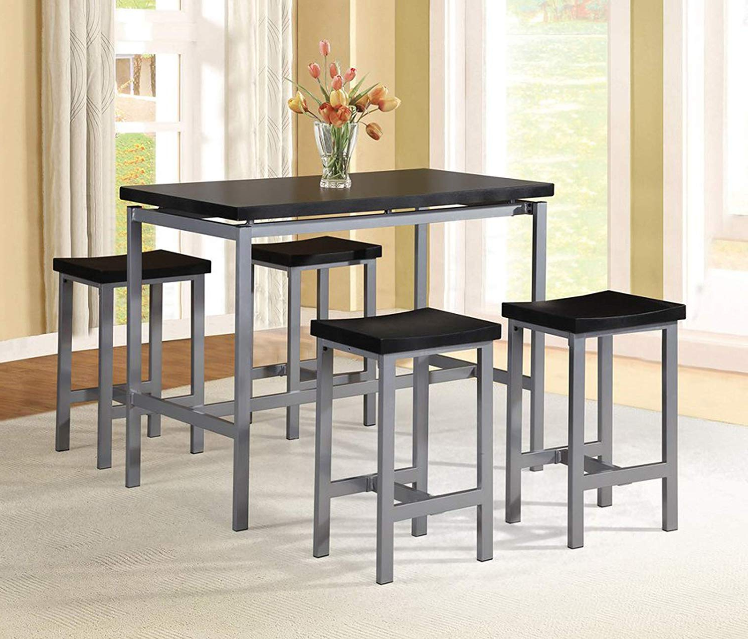 Mysliwiec 5 Piece Counter Height Breakfast Nook Dining Sets With Regard To Trendy Amazon – 5 Piece Dining Set – Counter Height Table And 4 Chairs (View 17 of 25)