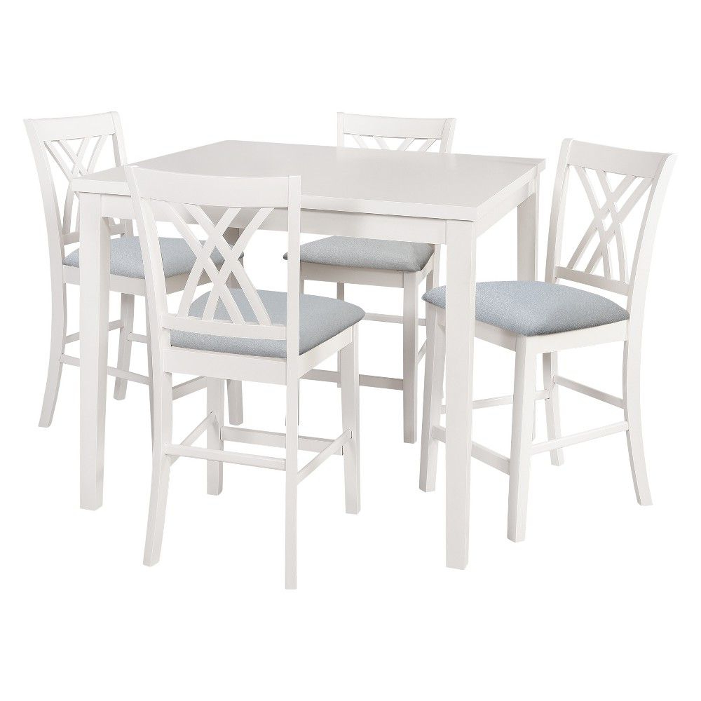 Newest 5Pc Powell Company Roslyn Counter Dining Set White – Powell Company Inside Denzel 5 Piece Counter Height Breakfast Nook Dining Sets (View 18 of 25)