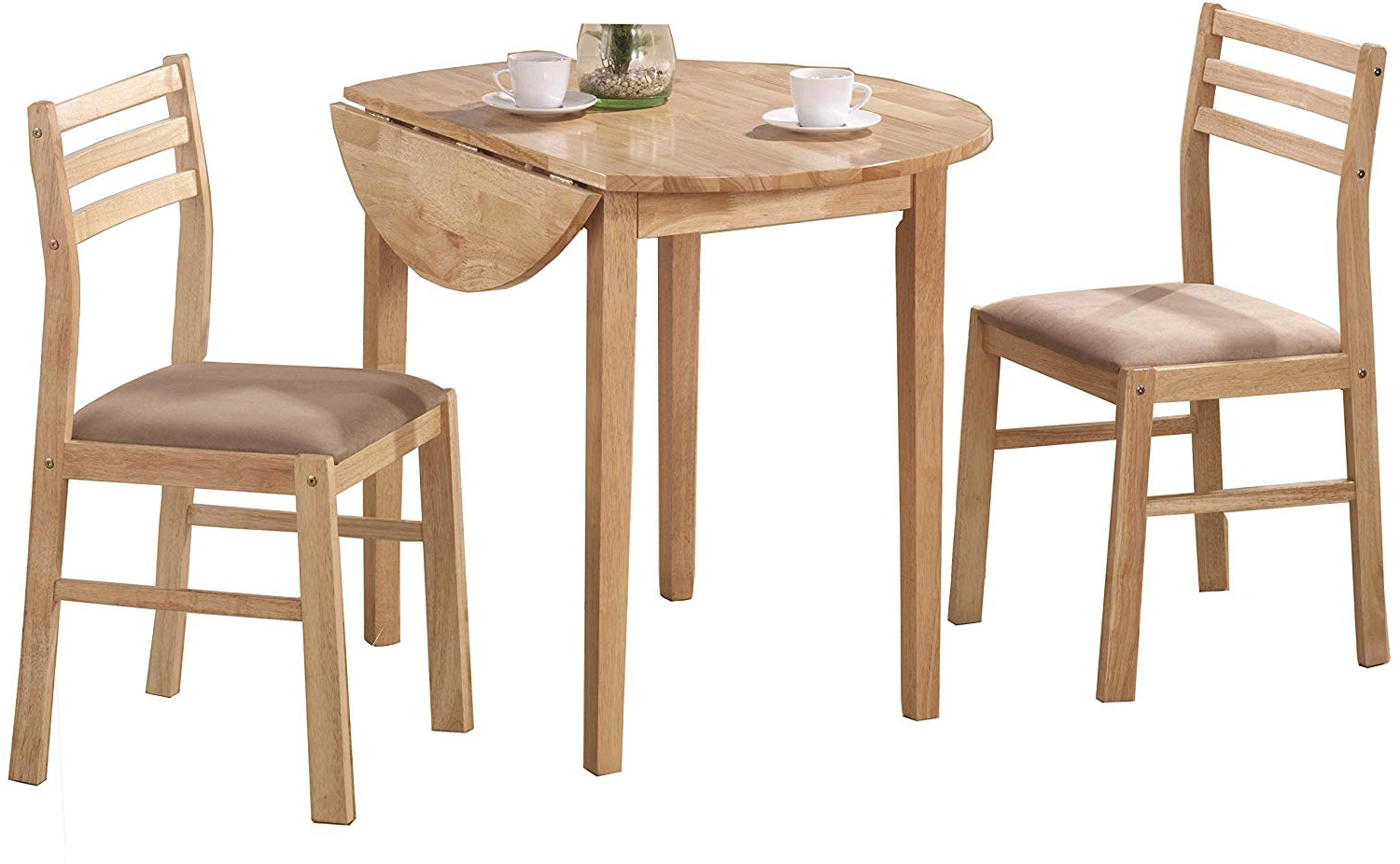 Newest Amazon – 3 Piece Dining Set With Drop Leaf Beige And Natural Intended For Baillie 3 Piece Dining Sets (View 5 of 25)
