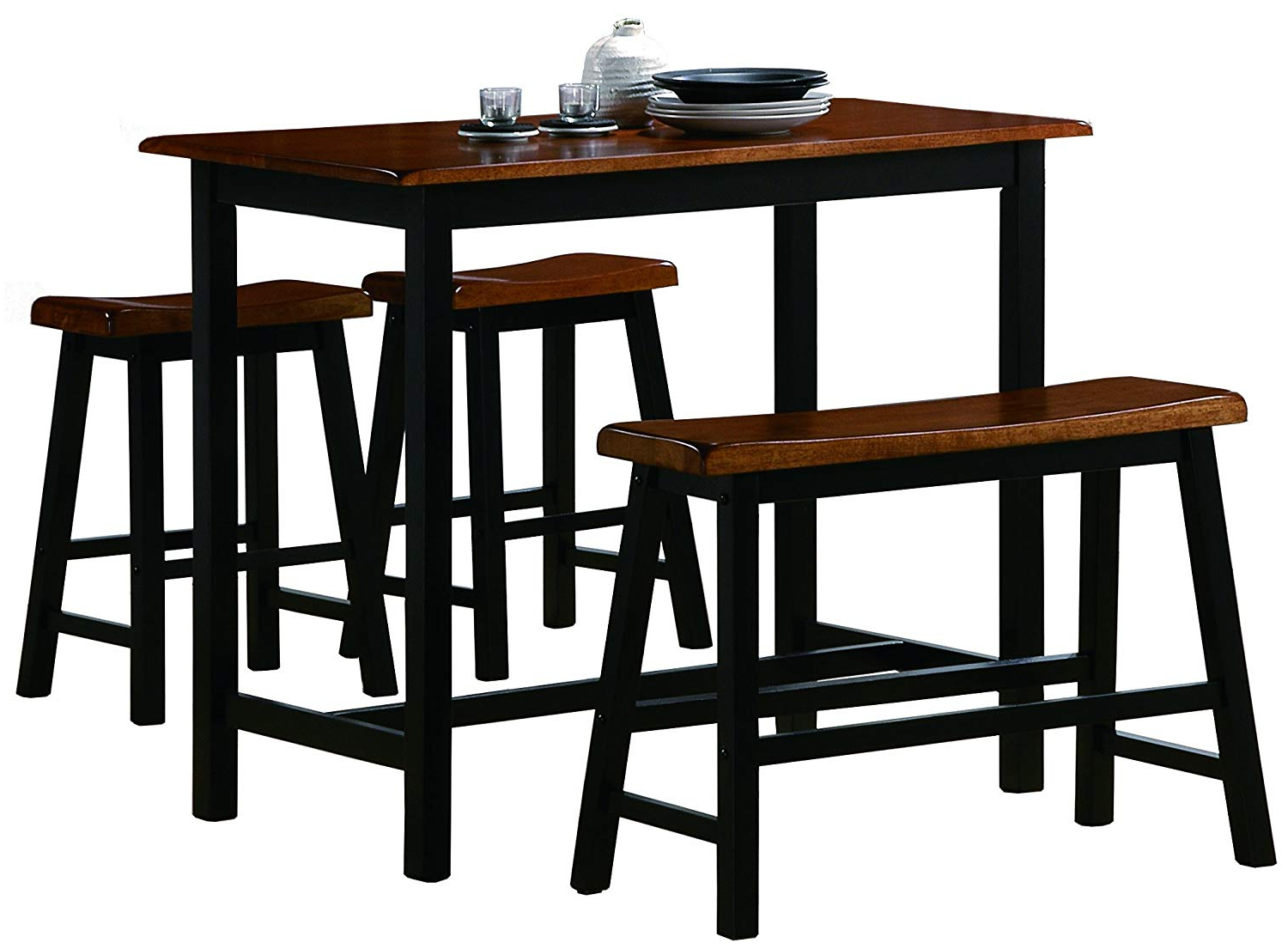 Newest Amazon – Crown Mark Tyler 4 Piece Counter Height Table Set With Winsted 4 Piece Counter Height Dining Sets (View 13 of 25)