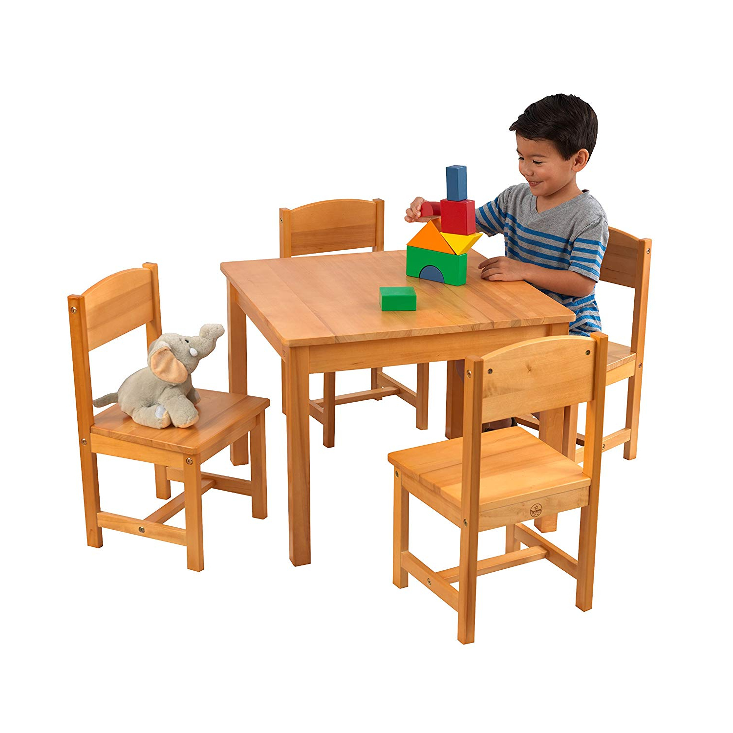 Newest Amazon: Kidkraft 21421 Farmhouse Table & 4 Chair Set, Natural with regard to Falmer 3 Piece Solid Wood Dining Sets