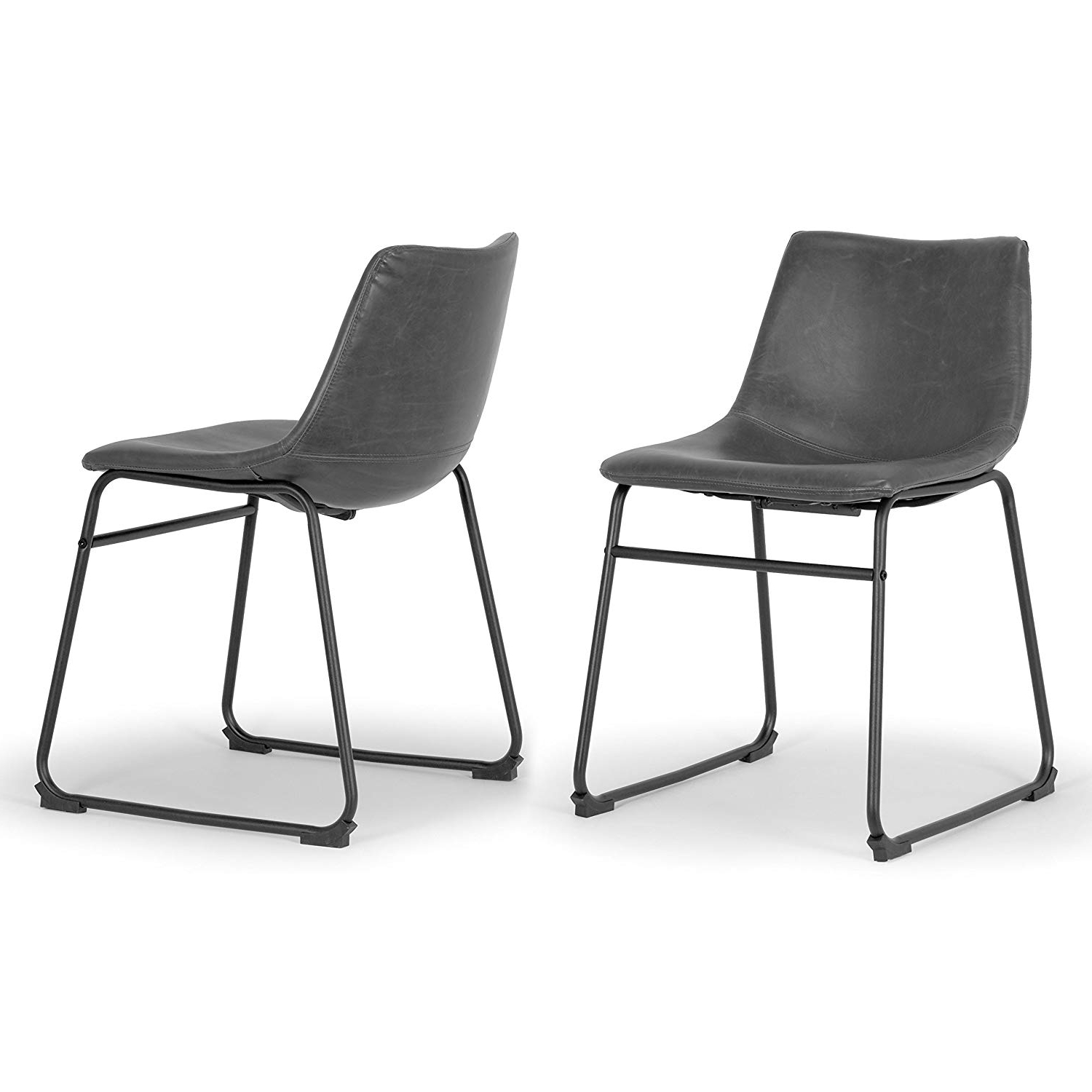 Newest Amazon – Set Of 2 Adan Iron Frame Vintage Grey Faux Leather For Adan 5 Piece Solid Wood Dining Sets (Set Of 5) (View 18 of 25)