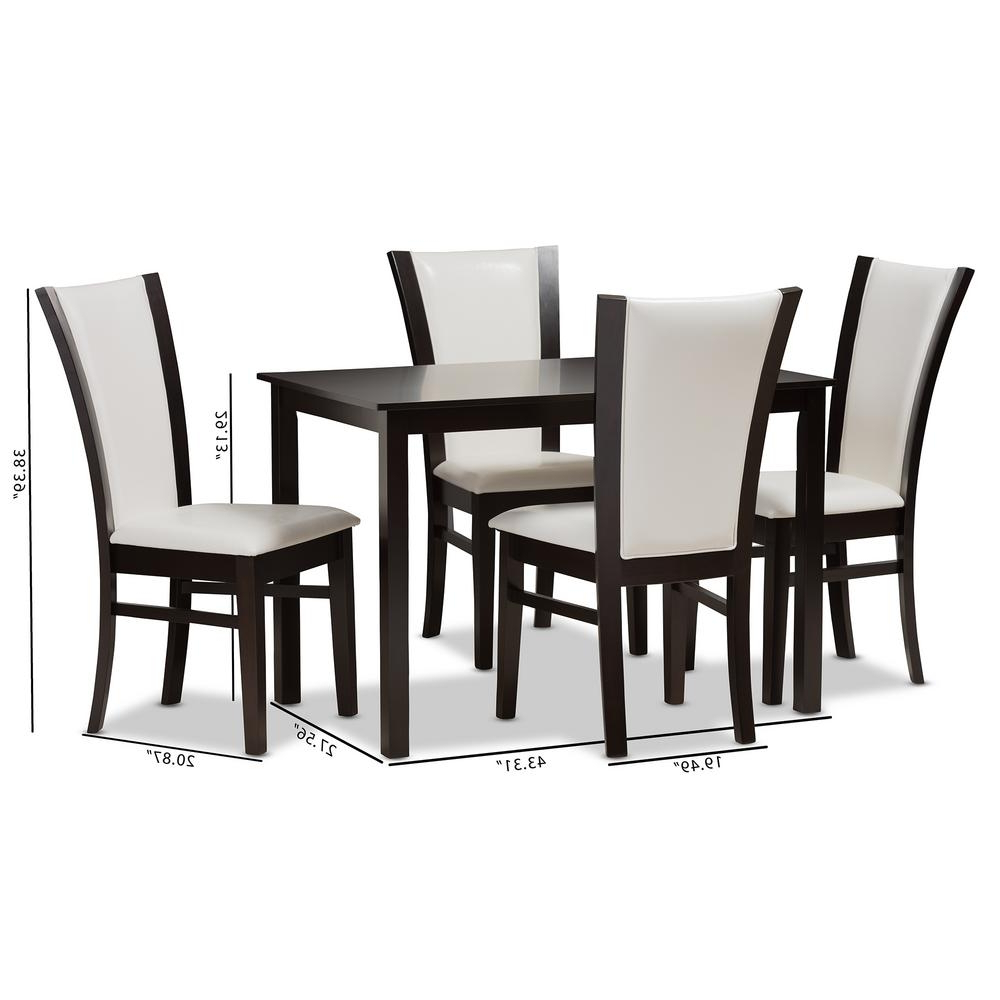 Newest Baxton Studio Adley 5 Piece White And Dark Brown Dining Set 8034 In Evellen 5 Piece Solid Wood Dining Sets (Set Of 5) (View 15 of 25)