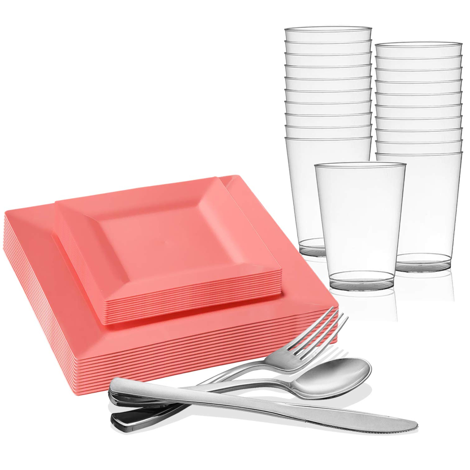 Newest Kaya 3 Piece Dining Sets throughout Amazon: Disposable Plastic Dinnerware Set For 20 Guests