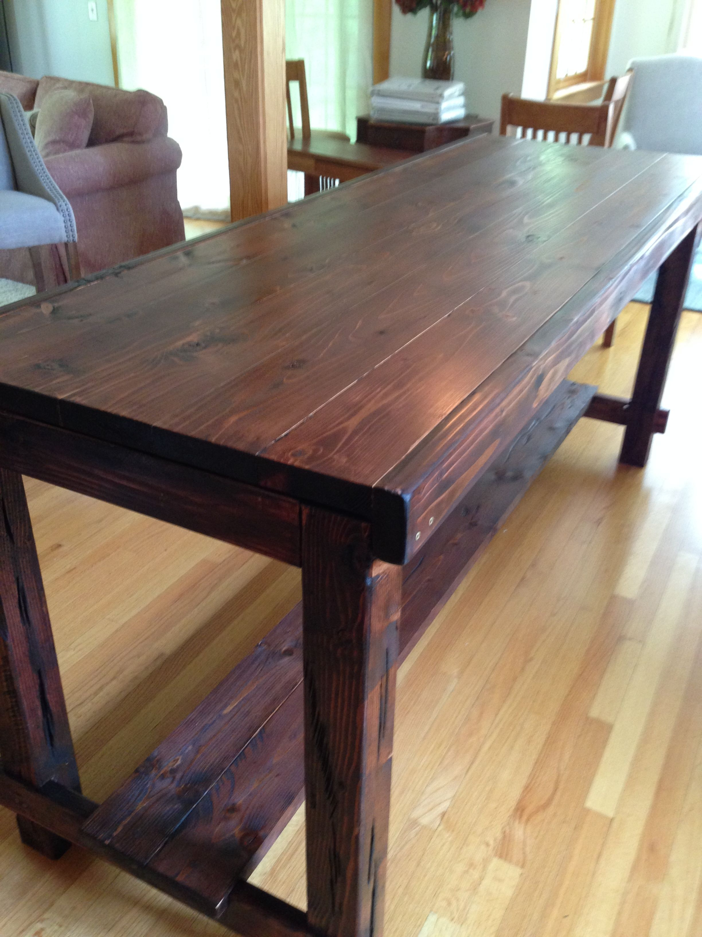 Newest Northwoods 3 Piece Dining Sets For Counter Height Farm Table In Custom Red Mahogany, Aged And (View 14 of 25)