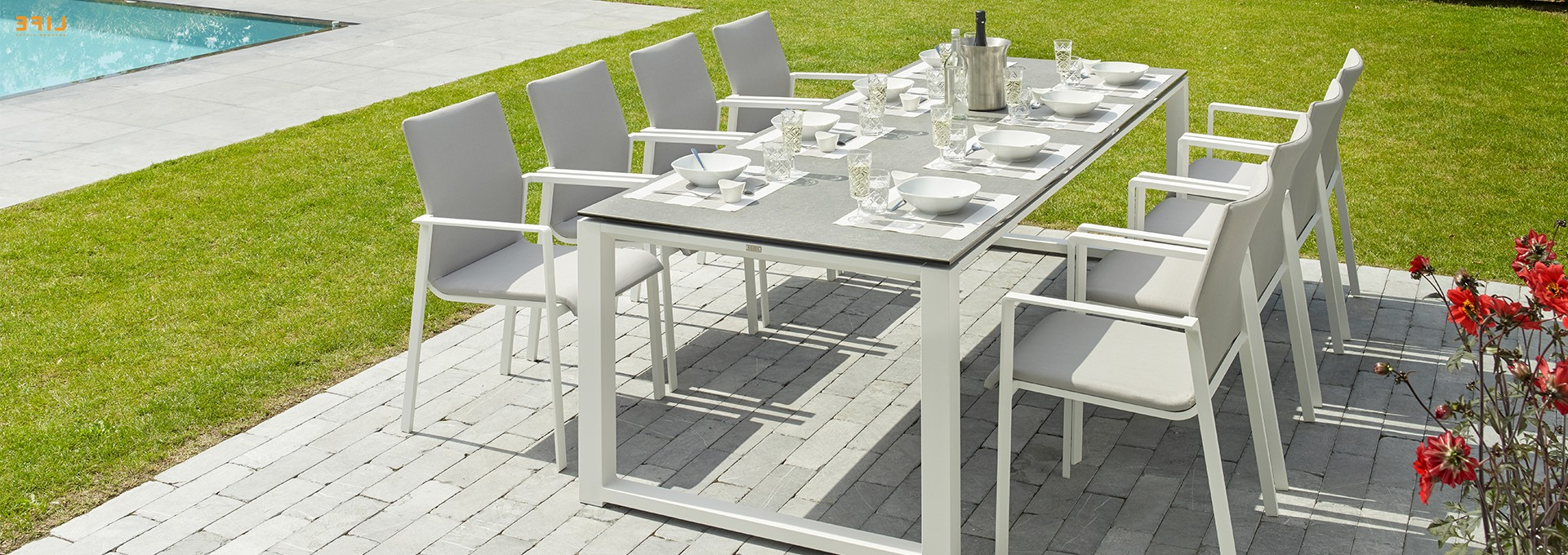 Newest Primavera Dining White – Life Outdoor Living With Regard To Osterman 6 Piece Extendable Dining Sets (Set Of 6) (View 12 of 25)