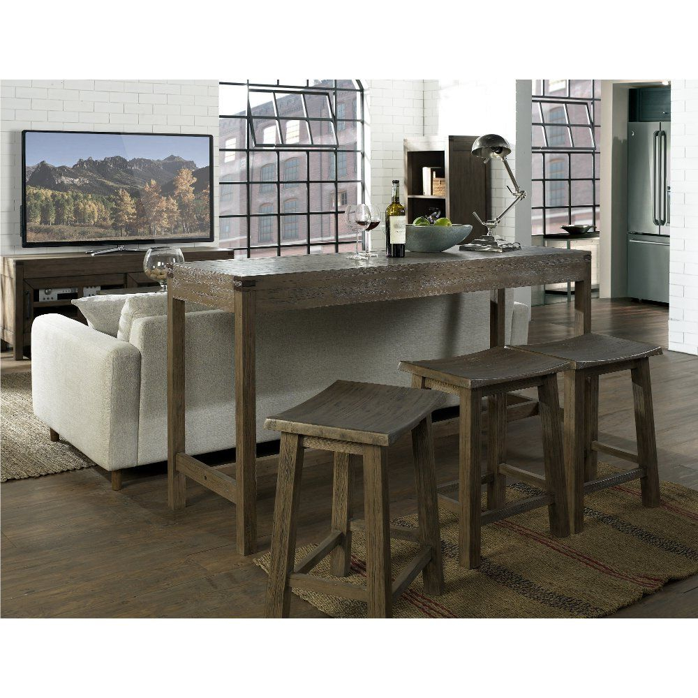 Newest Saintcroix 3 Piece Dining Sets Within Counter Height Sofa Table And Three Stools – St (View 17 of 25)