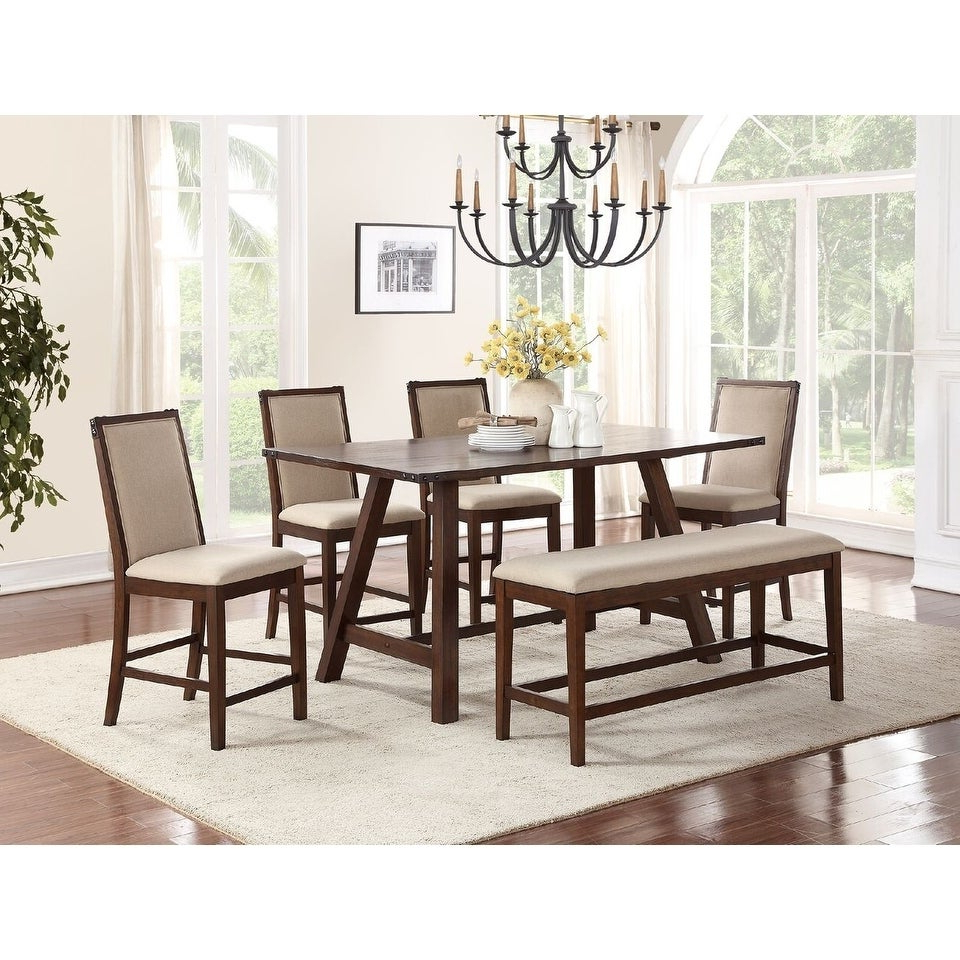 Newest Shop Vilnius 6 Piece Counter Height Dining Set In Medium Brown Regarding Goodman 5 Piece Solid Wood Dining Sets (Set Of 5) (View 18 of 25)