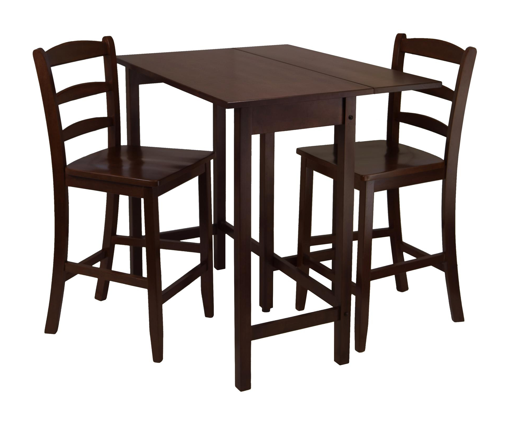 Newest Winsome 3 Piece Counter Height Dining Sets Inside Winsome Lynnwood 3Pc Drop Leaf High Table With 2 Counter (View 9 of 25)