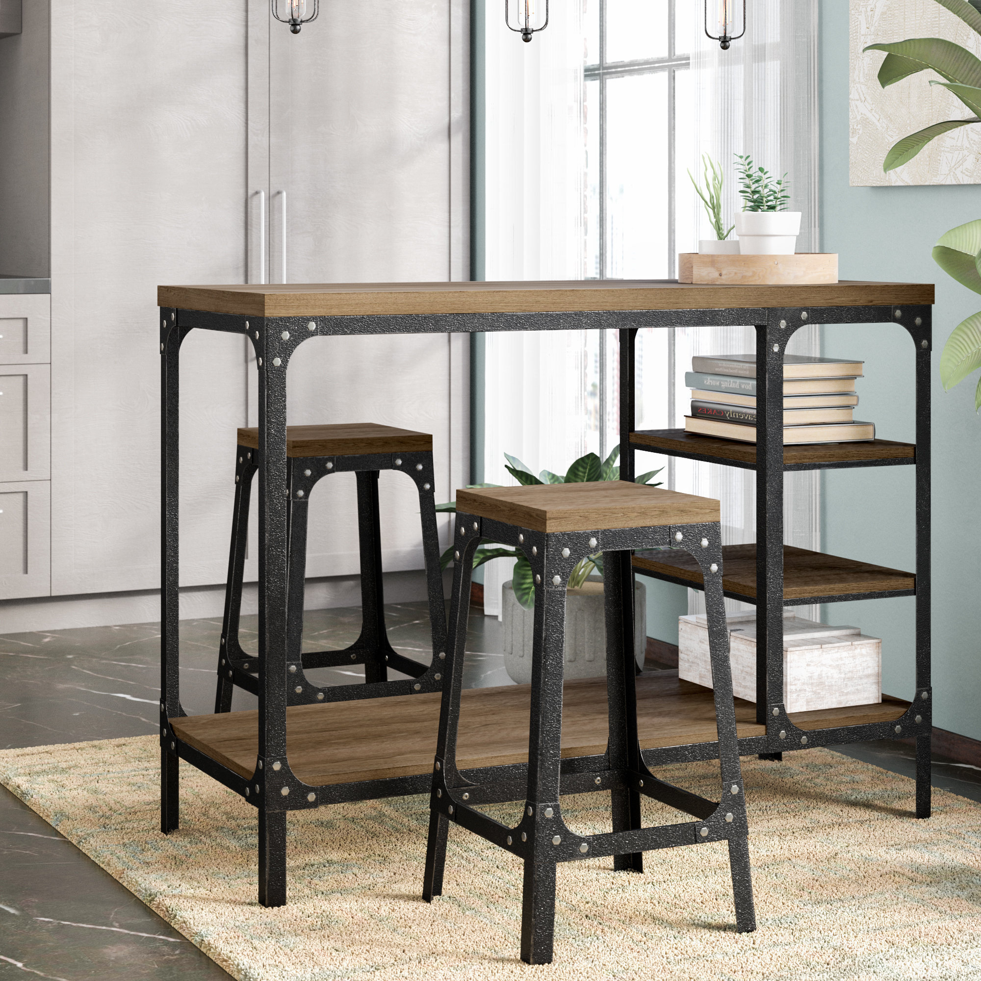 Newest Winsted 4 Piece Counter Height Dining Sets For Williston Forge Terence 3 Piece Breakfast Nook Dining Set & Reviews (View 8 of 25)