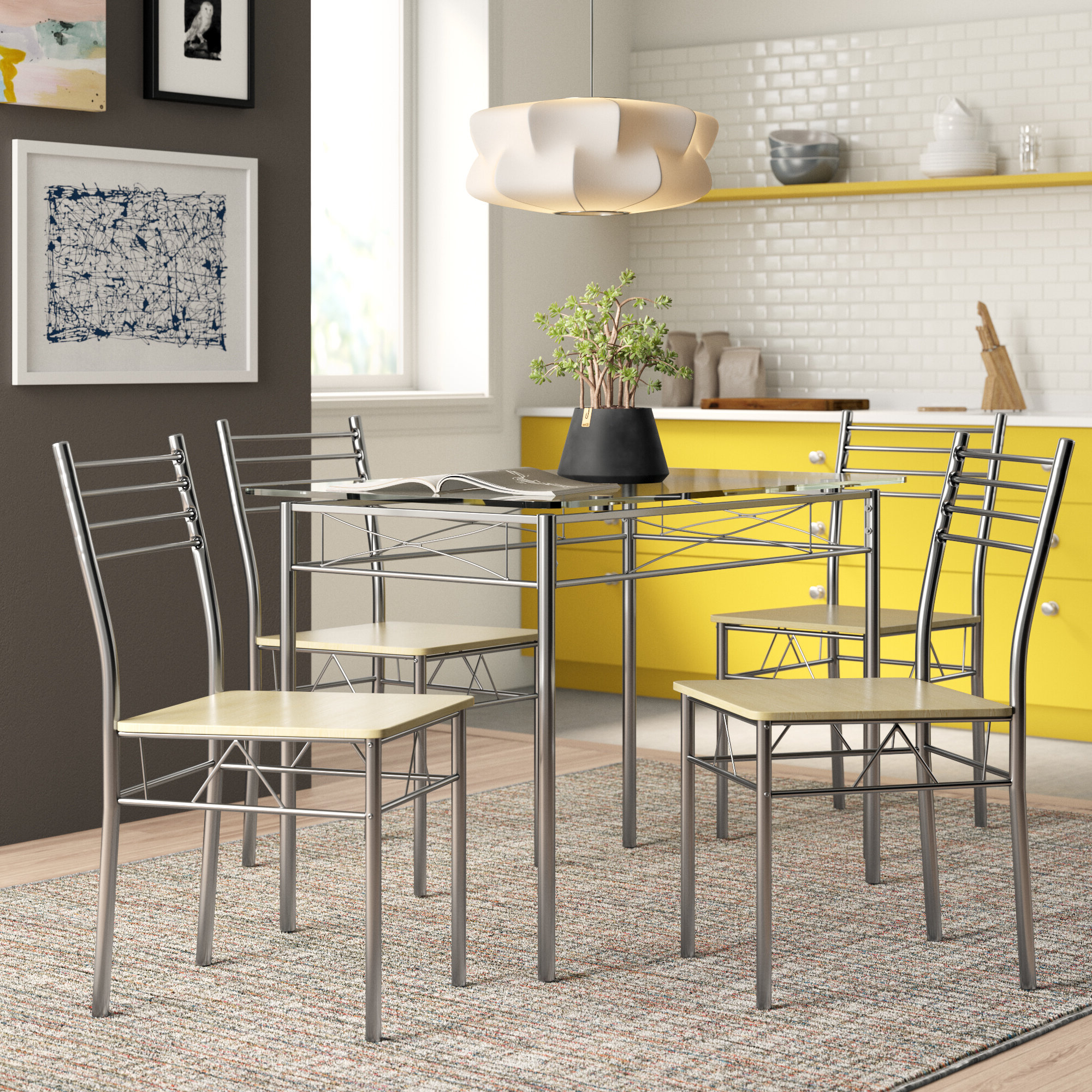 North Reading 5 Piece Dining Table Sets with regard to Fashionable Zipcode Design North Reading 5 Piece Dining Table Set & Reviews