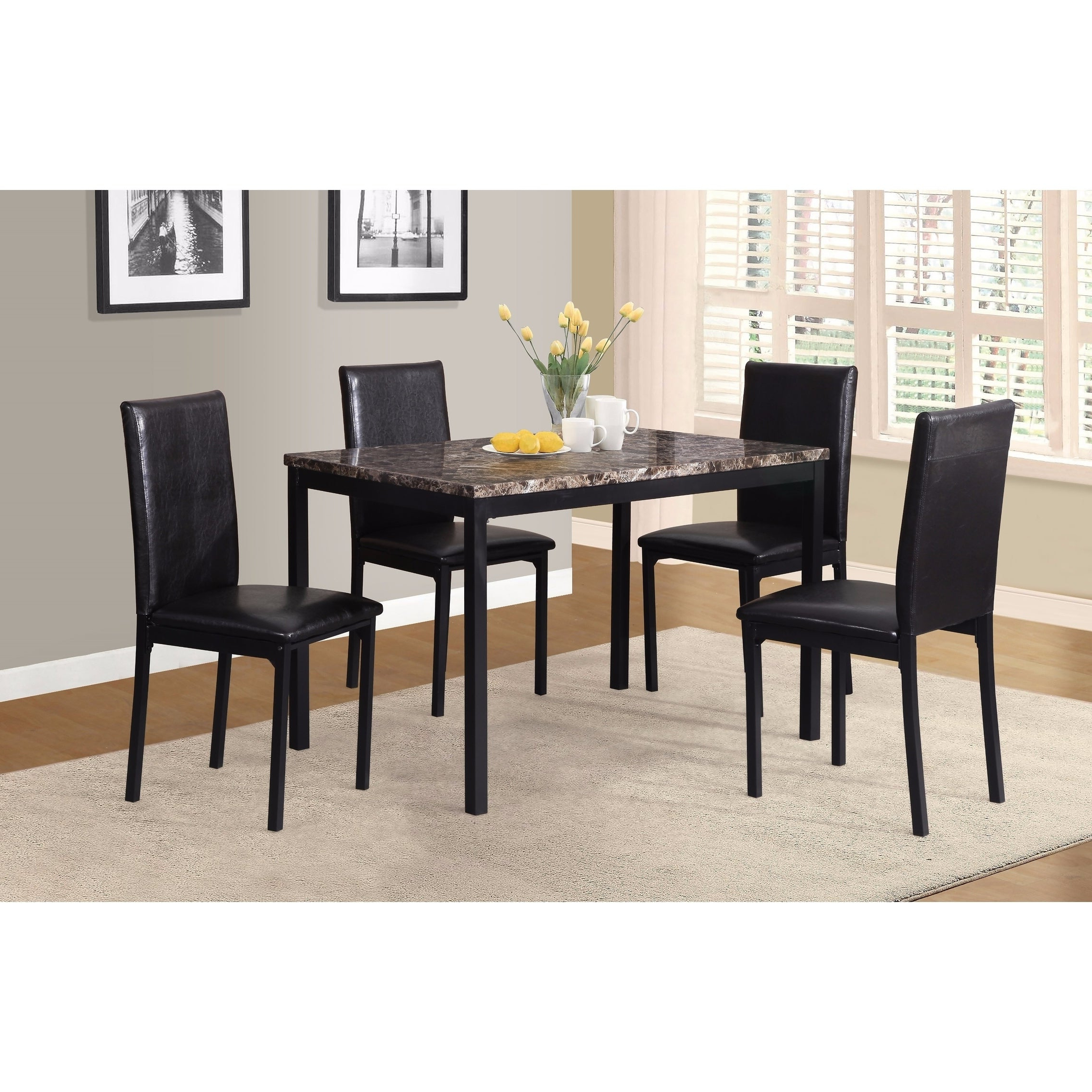 Noyes 5 Piece Dining Sets For Fashionable Shop Noyes Metal Dining Table With Laminated Faux Marble Top – Black (View 3 of 25)
