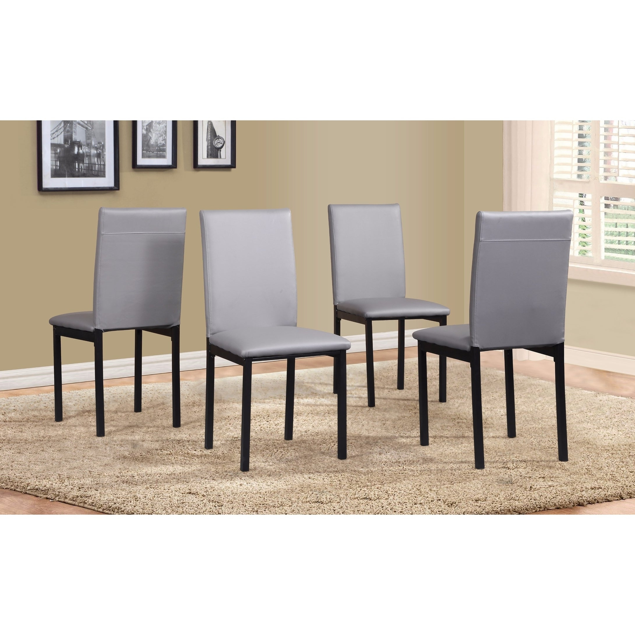 Noyes 5 Piece Dining Sets Inside 2020 Shop Noyes Faux Leather Seat Metal Frame Black Dining Chairs, Set Of (View 19 of 25)