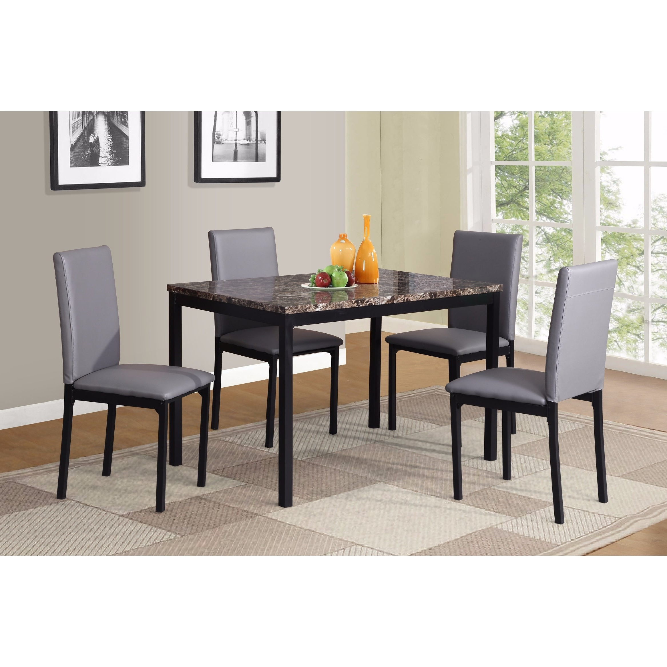 Noyes 5 Piece Dining Sets Within 2019 Shop Noyes Faux Leather Seat Metal Frame Black Dining Chairs, Set Of (View 15 of 25)
