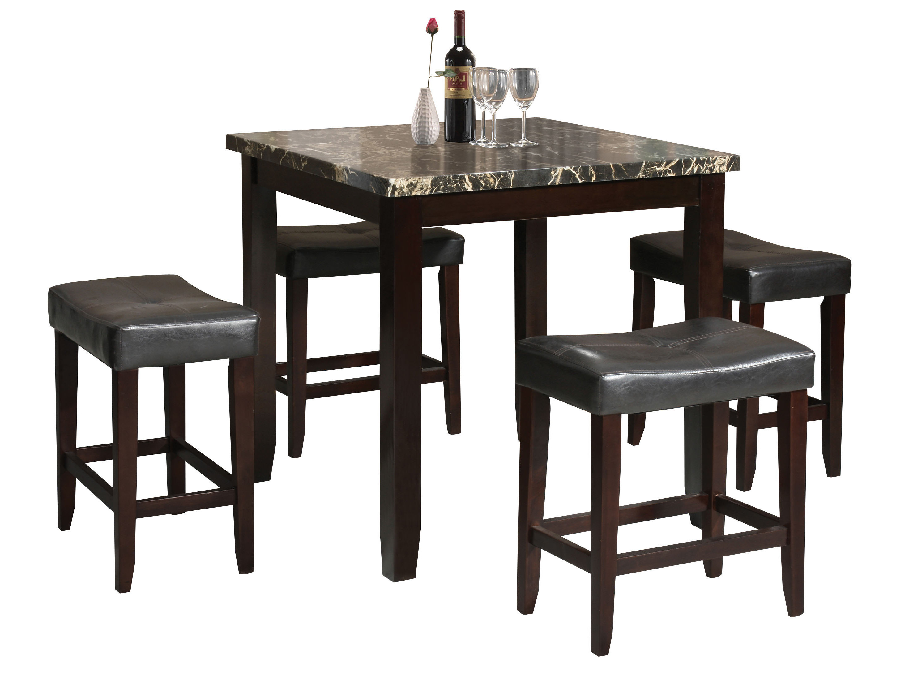 Nutter 3 Piece Dining Sets pertaining to 2020 Dehaven 5 Piece Counter Height Dining Set & Reviews