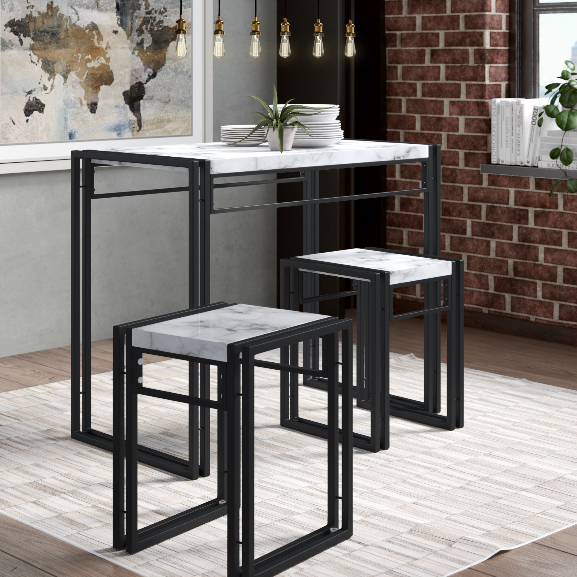 Nutter 3 Piece Dining Sets Pertaining To Widely Used Williston Forge Debby Small Space 3 Piece Dining Set & Reviews (View 3 of 25)