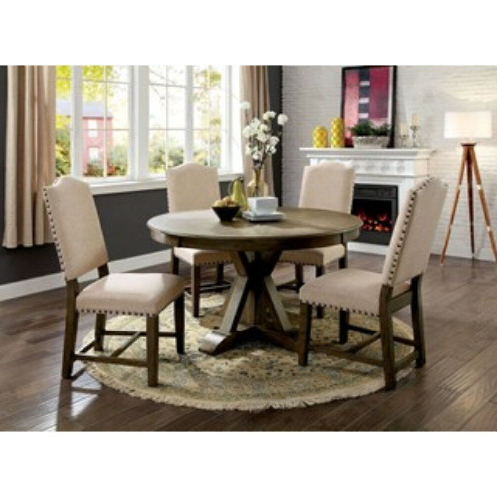 One Allium Way Lowell 5 Piece Solid Wood Dining Set (View 17 of 25)