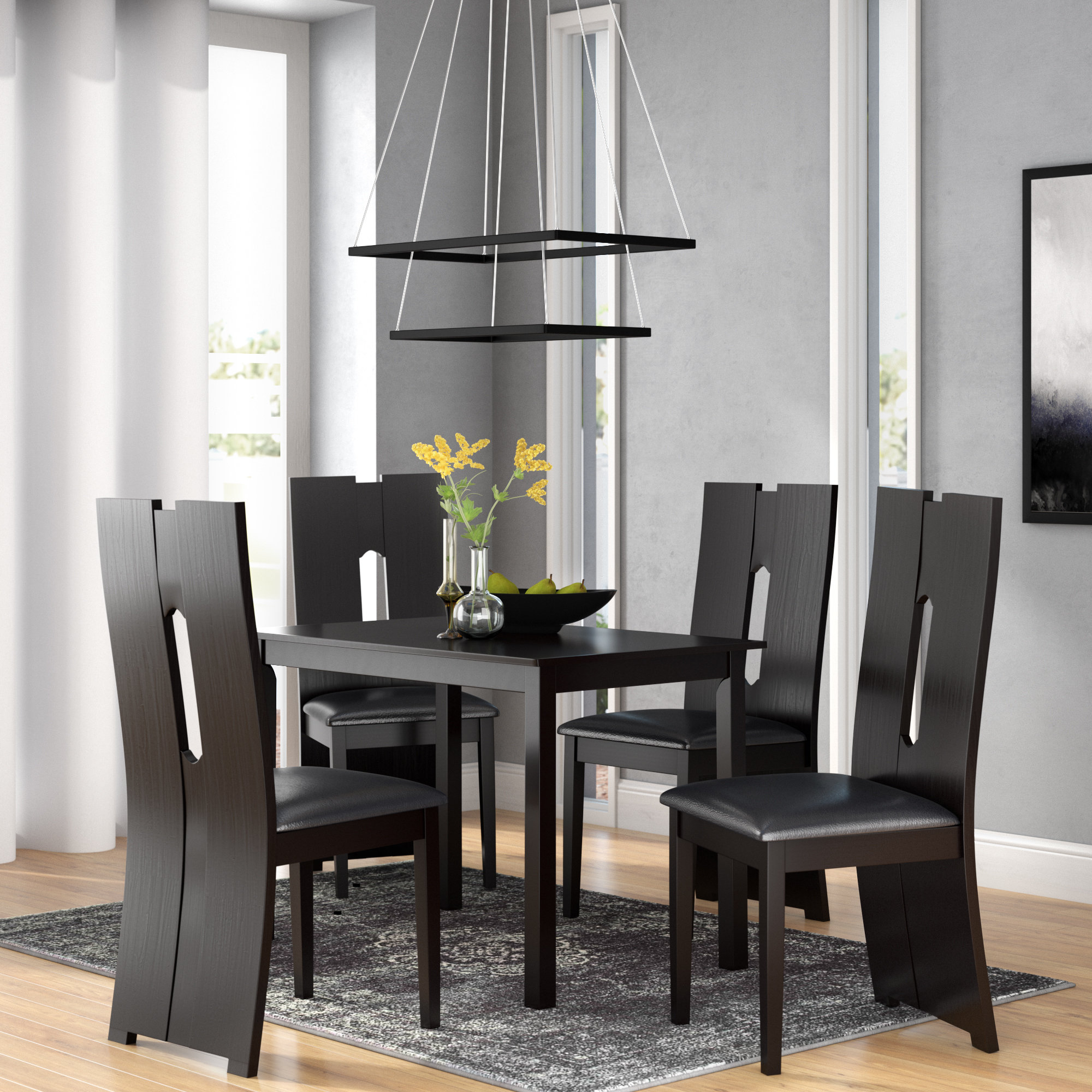 Orren Ellis Onsted Modern And Contemporary 5 Piece Breakfast Nook Within Current 5 Piece Breakfast Nook Dining Sets (View 16 of 25)
