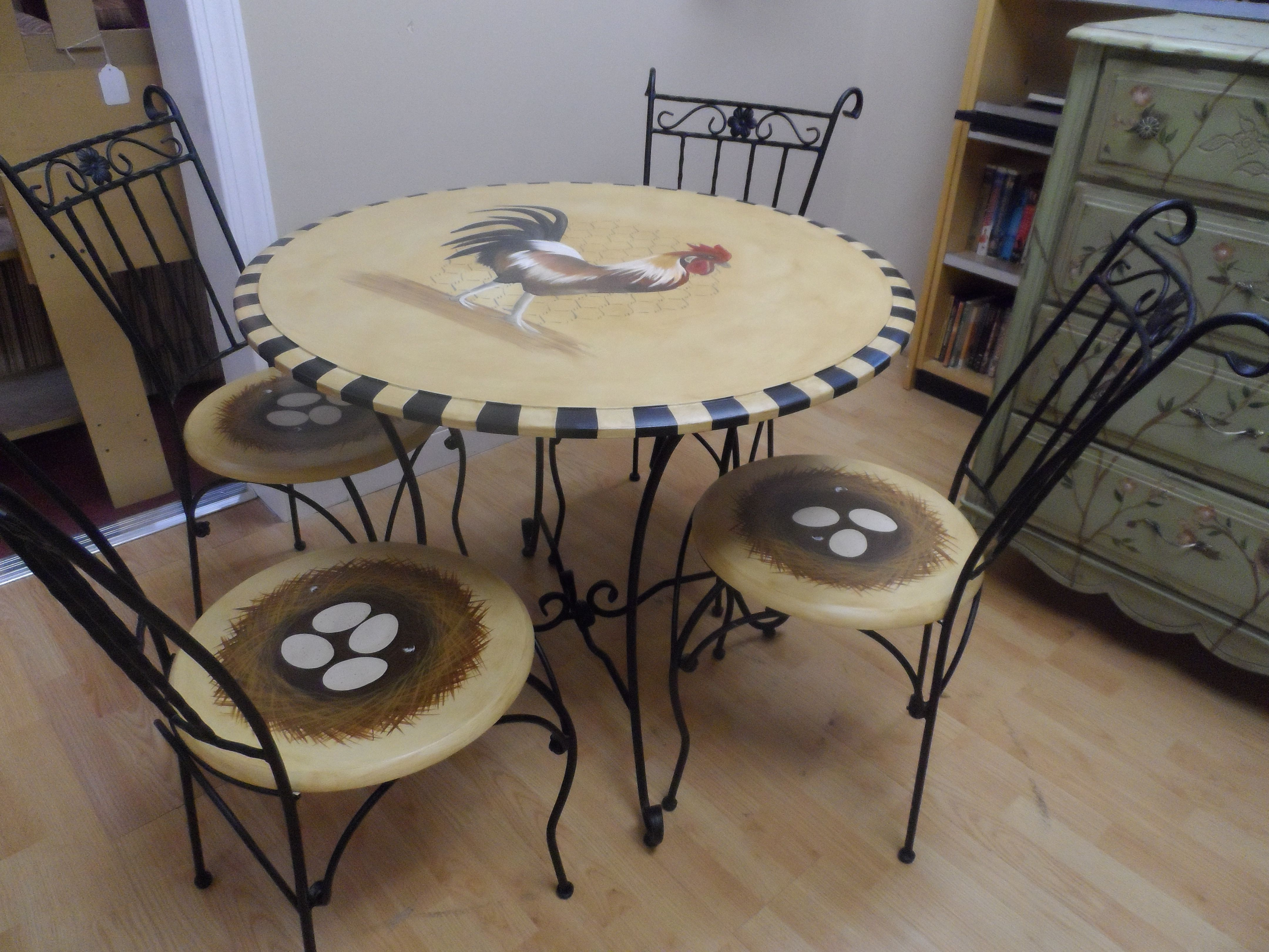 Partin 3 Piece Dining Sets For Most Recent French Country Rooster Table With Nest Chairs  My Most Popular (View 17 of 25)