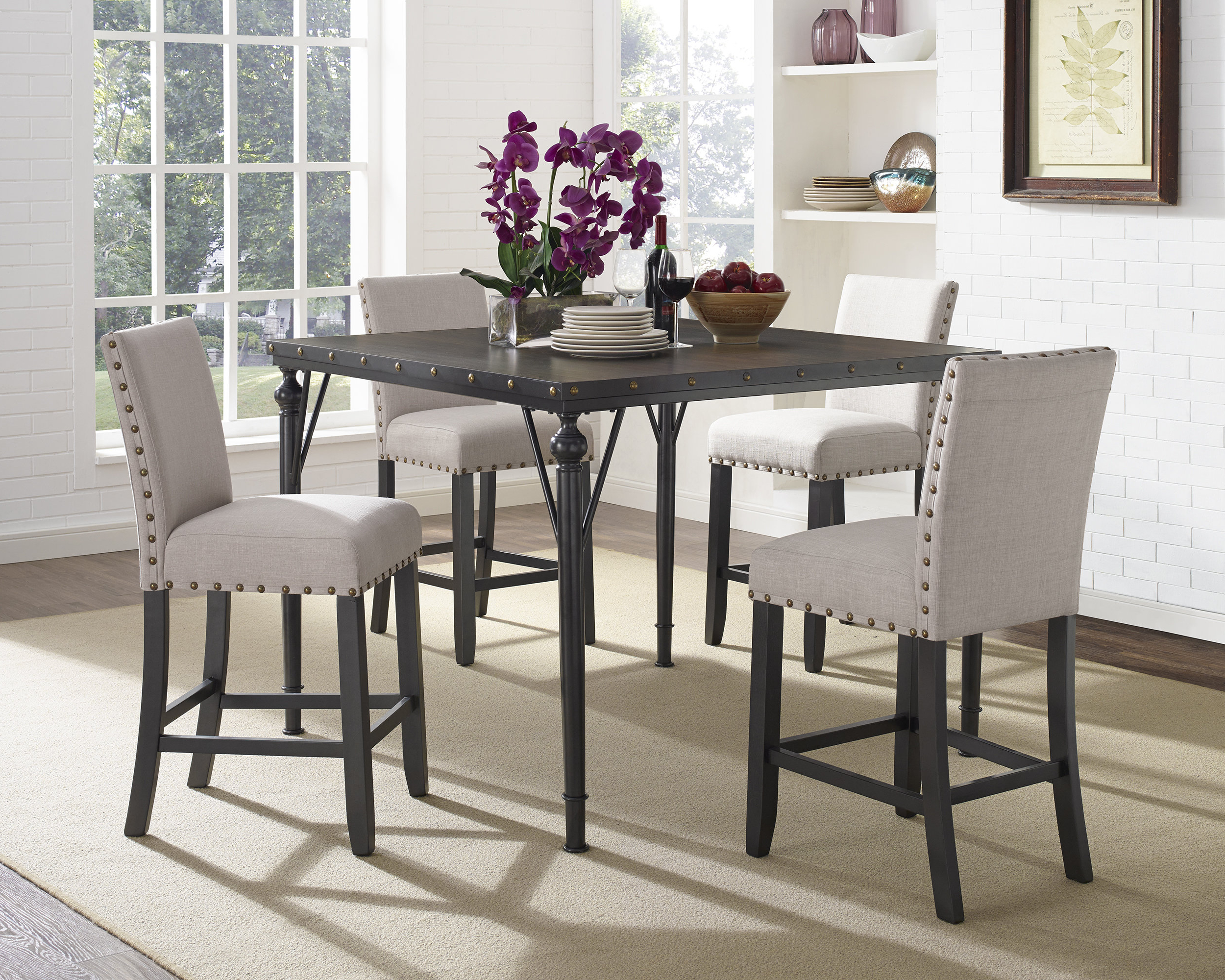Pattonsburg 5 Piece Dining Sets Throughout Popular Haysi Wood Counter Height 5 Piece Dining Set With Fabric Nailhead (View 12 of 25)