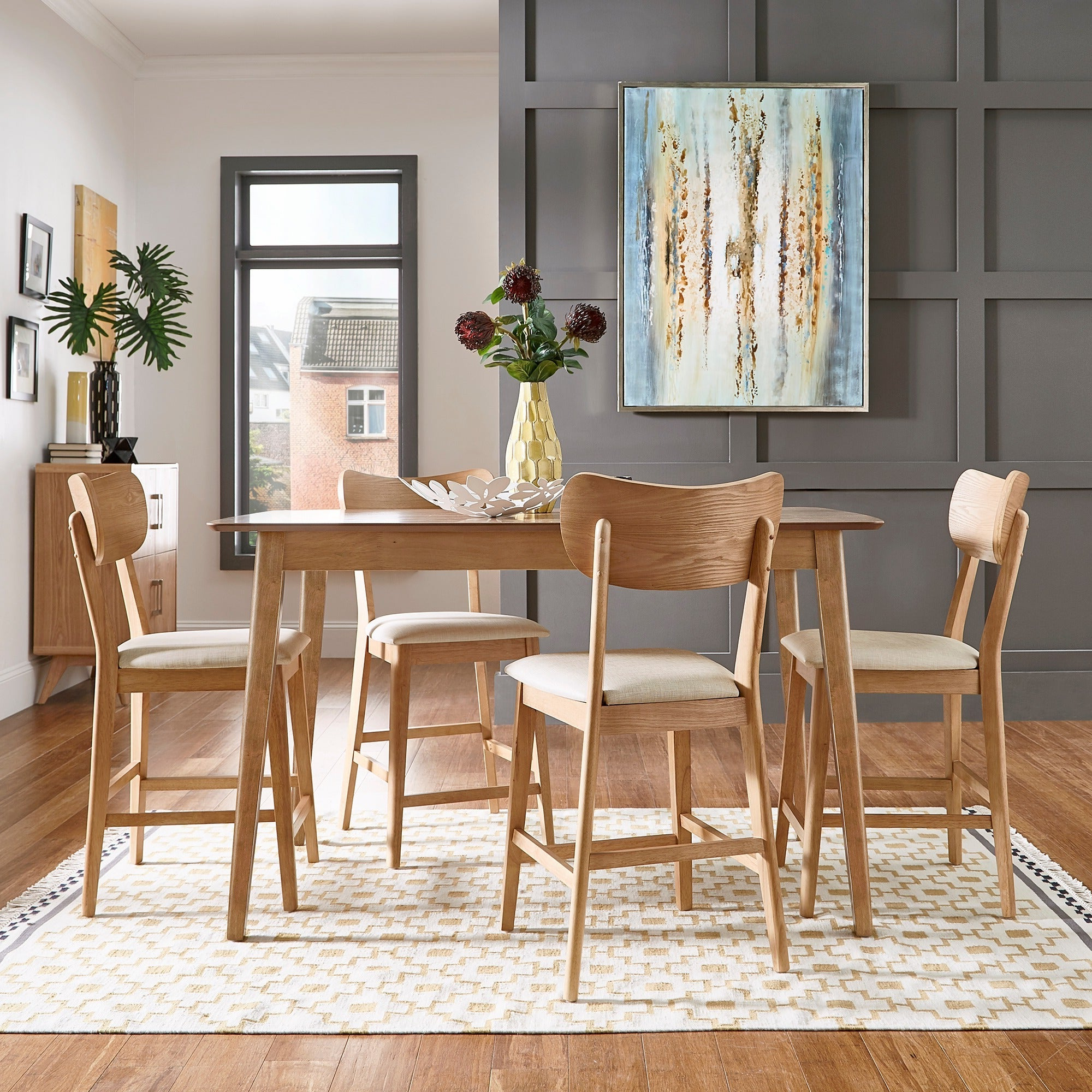 Penelope 3 Piece Counter Height Wood Dining Sets For Current Shop Penelope Danish Modern Tapered Leg Counter Height Chair (Set Of (View 17 of 25)