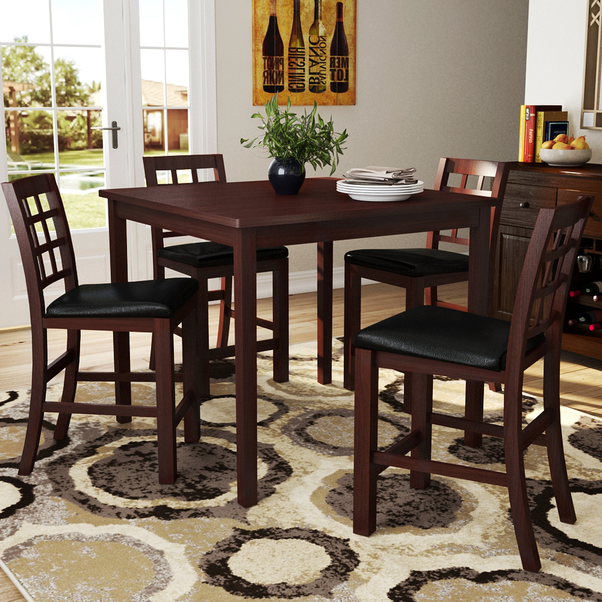 Penelope 3 Piece Counter Height Wood Dining Sets In Recent Red Barrel Studio Plymouth 5 Piece Counter Height Dining Set (View 11 of 25)