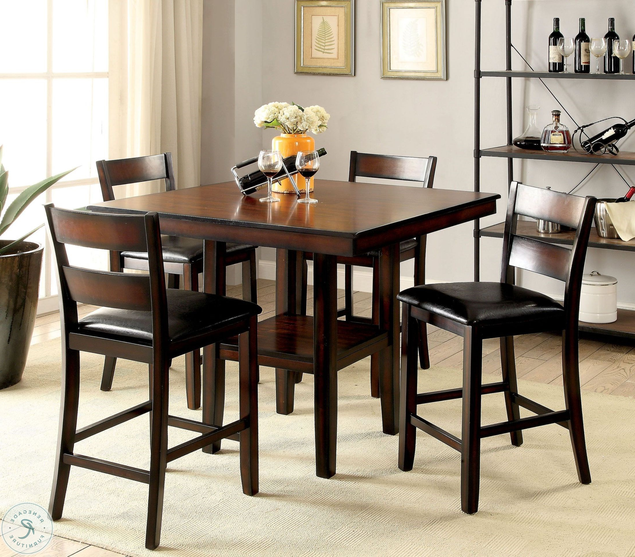 Penelope 3 Piece Counter Height Wood Dining Sets Pertaining To Famous Norah Ii Brown Cherry 5 Piece Counter Height Dining Set From (View 23 of 25)