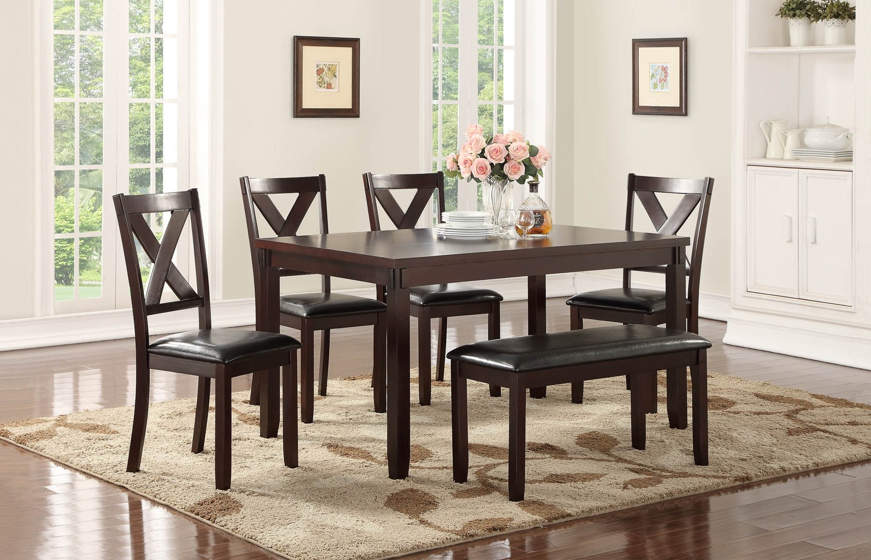 Penelope Collection 6 Pc Dining Set With Bench (View 8 of 25)