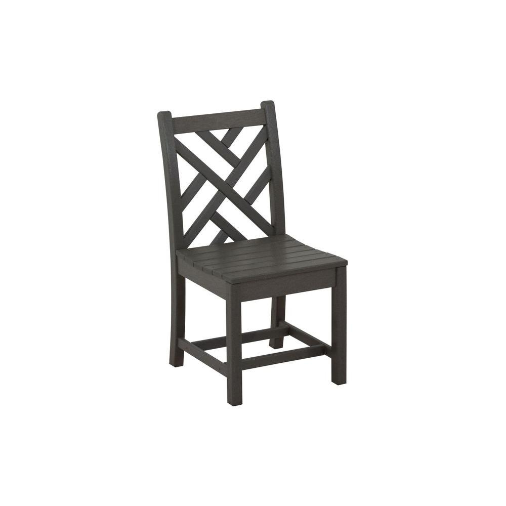 Polywood Chippendale Slate Grey All Weather Plastic Outdoor Dining For Current Northwoods 3 Piece Dining Sets (View 17 of 25)