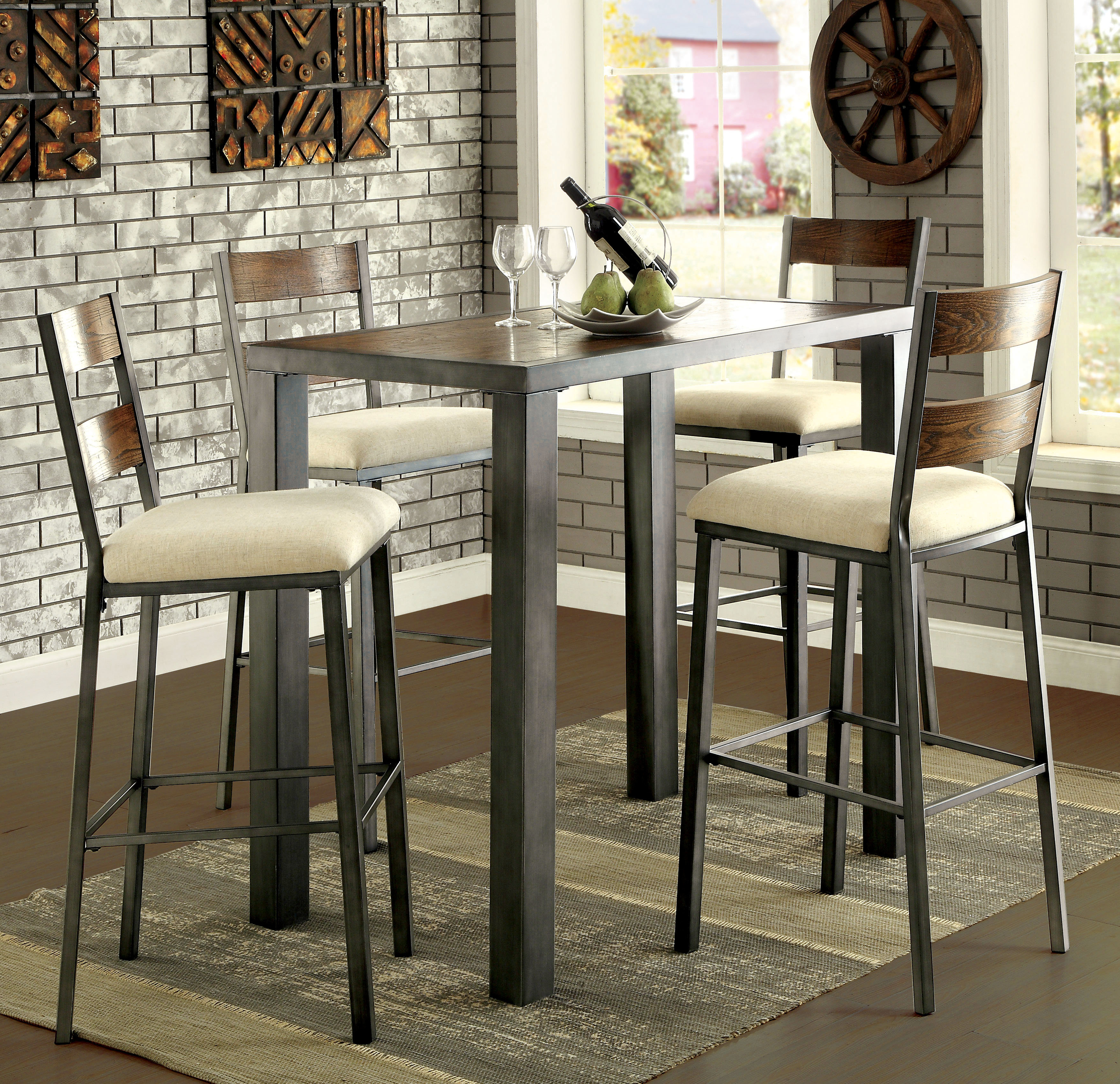 Popular Bettencourt 3 Piece Counter Height Solid Wood Dining Sets In Thurman 5 Piece Pub Table Set & Reviews (View 17 of 25)