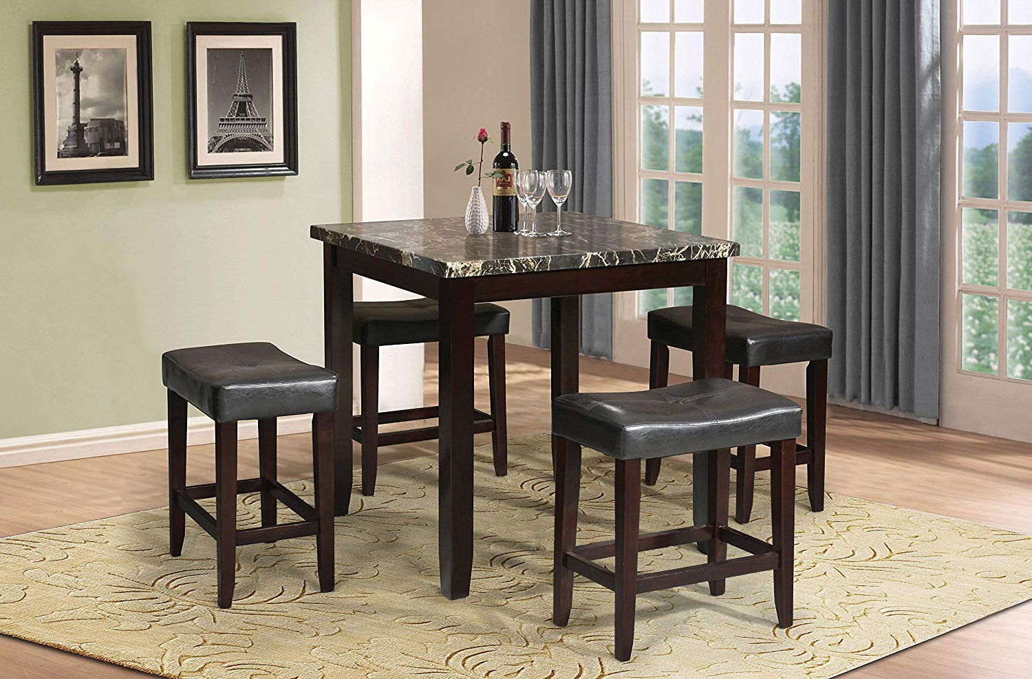 Popular Biggs 5 Piece Counter Height Solid Wood Dining Sets (Set Of 5) With Amazon – Acme Ainsley Counter Height Set (5 Pack) – Table (View 14 of 25)
